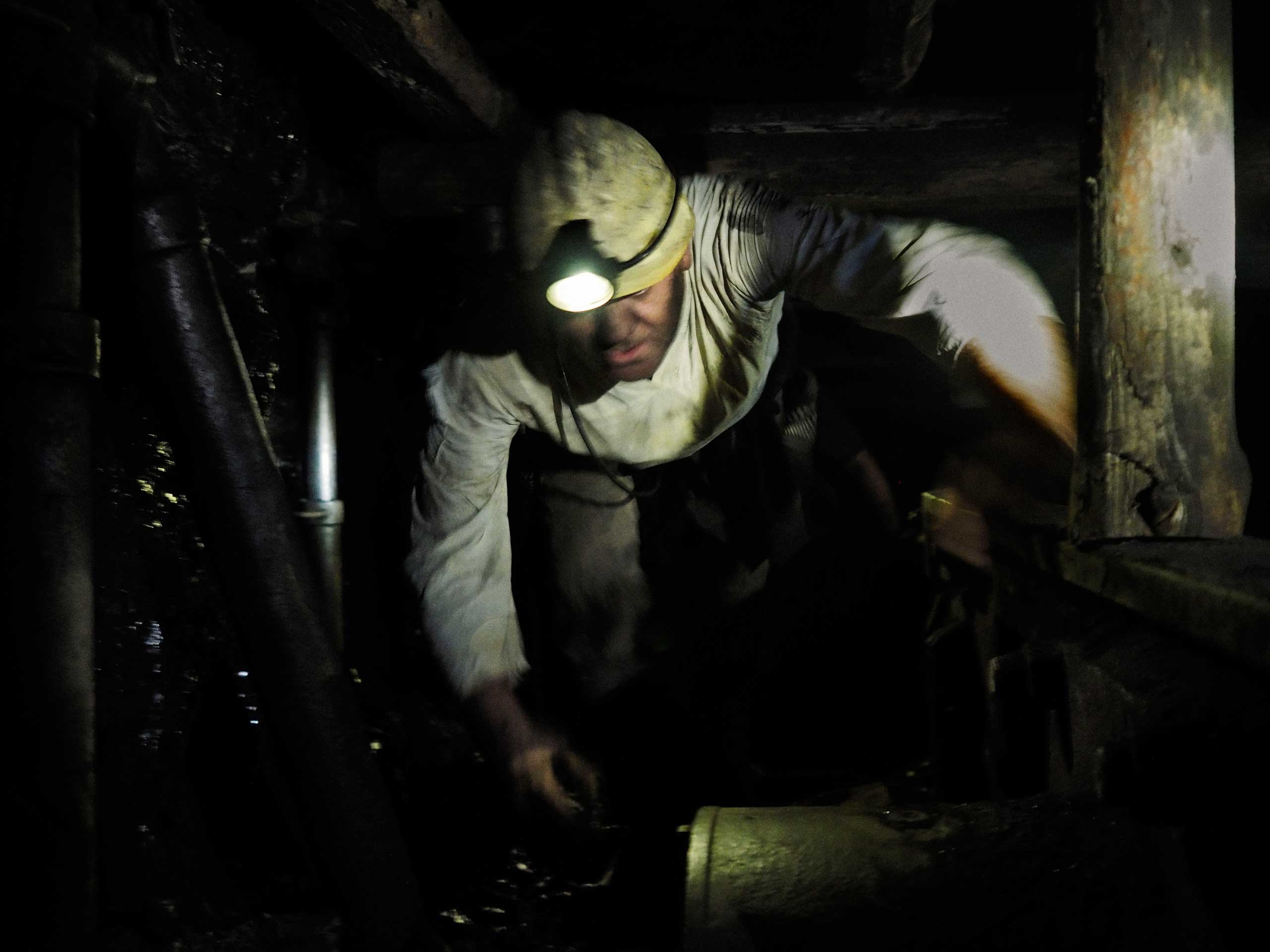 The mine's deputy director while evacuating the deepest shaft. Petrovskyi district, Donetsk, Ukraine. Nov. 22, 2014.