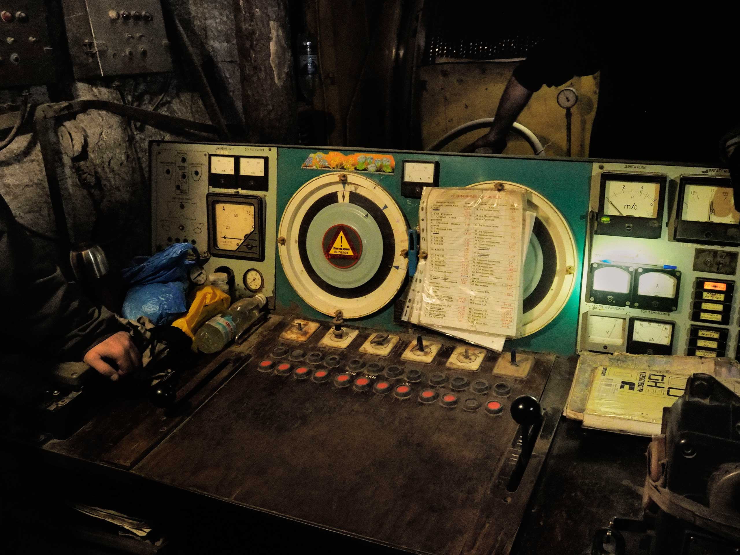 The control panel for the cable car at the 500-meter level, seen during the evacuation process. Petrovskyi district, Donetsk, Ukraine. Nov. 22, 2014.