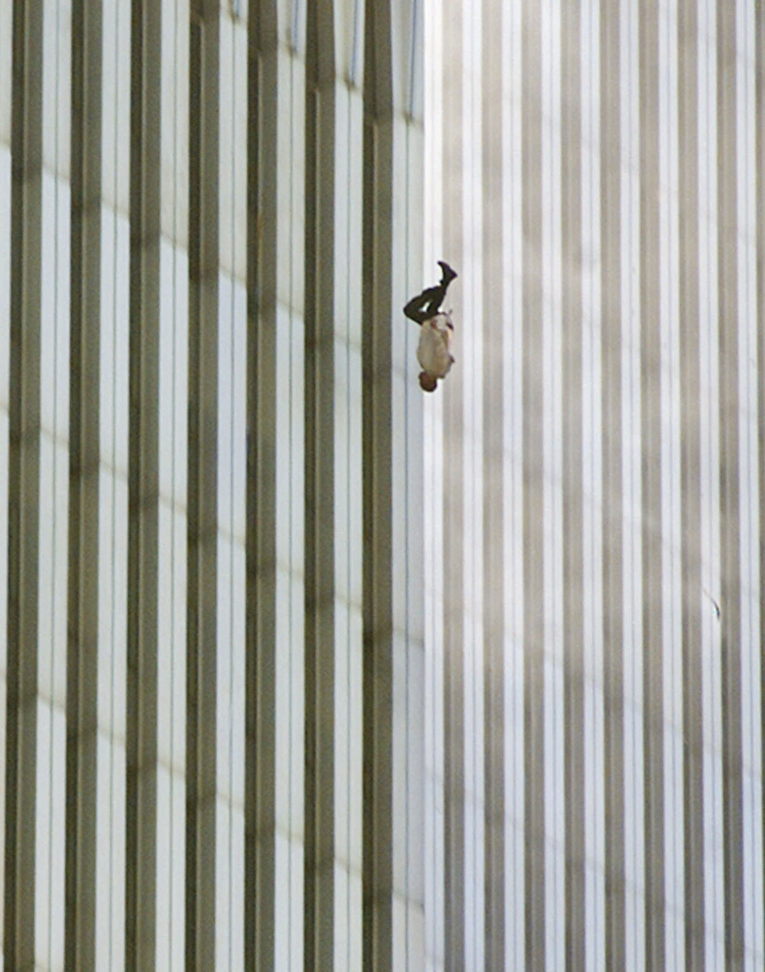 A man jumps to his death from North Tower of the World Trade Center on Sept. 11, 2001.