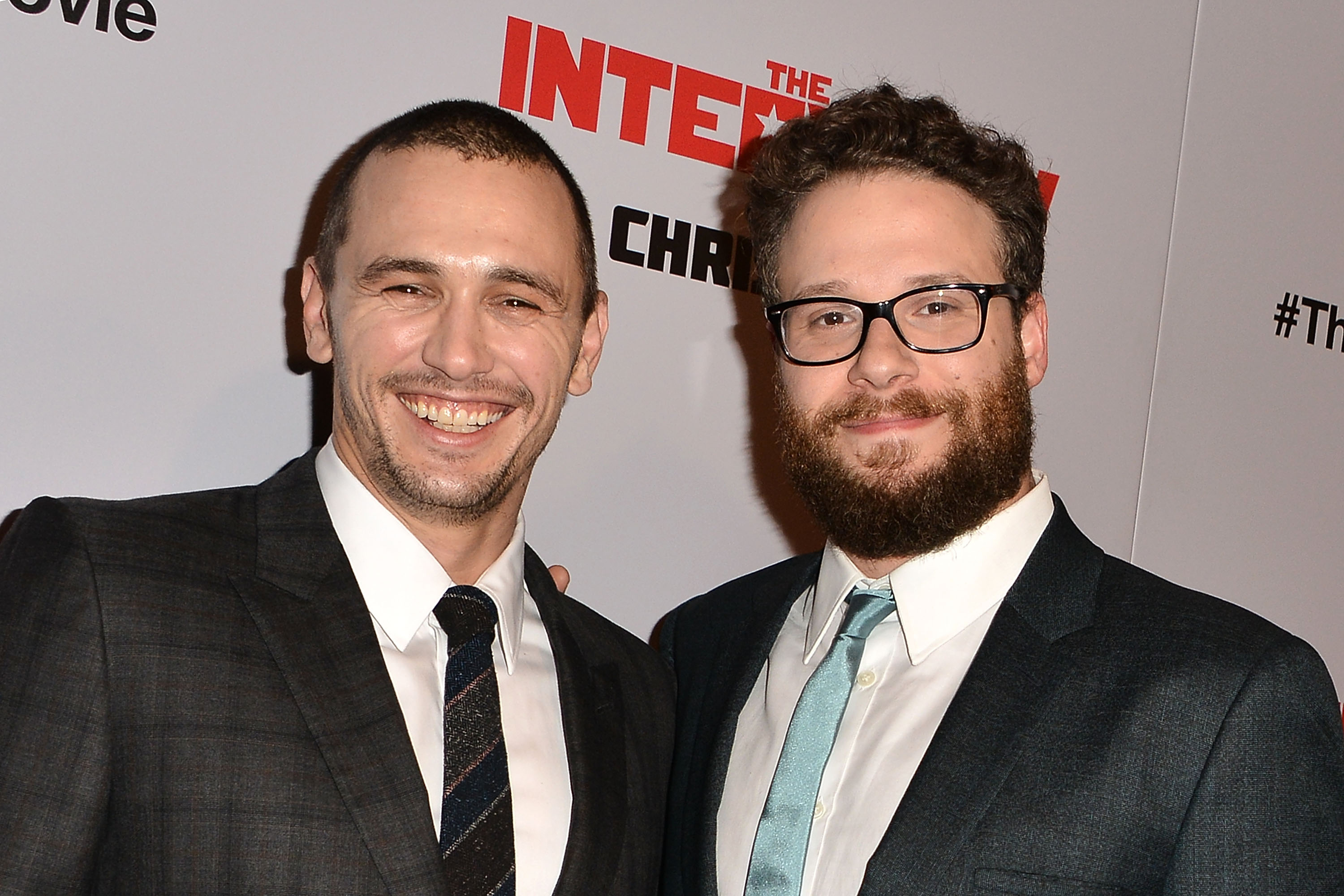 Actors James Franco and Seth Rogen at the Los Angeles premiere of The Interview on Dec. 11, 2014