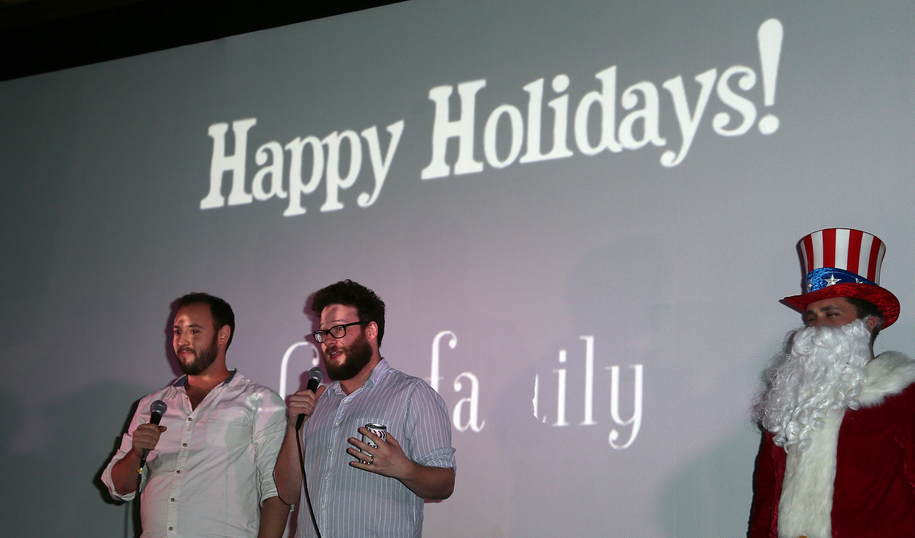 Writers/directors Evan Goldberg (L) and Seth Rogen introduce the screening of Sony Pictures'  The Interview  at Cinefamily on Dec. 25, 2014 in Los Angeles.