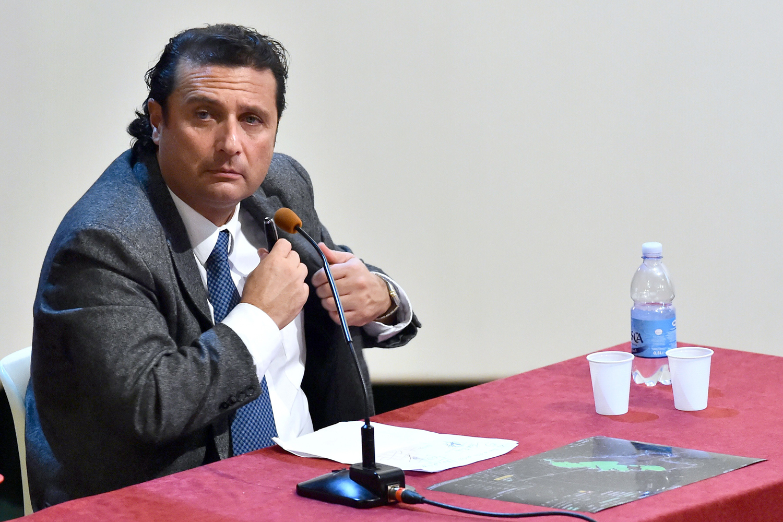 Costa Concordia's captain Francesco Schettino attends the resumption of his trial on December 2, 2014 in Grosseto, Italy.