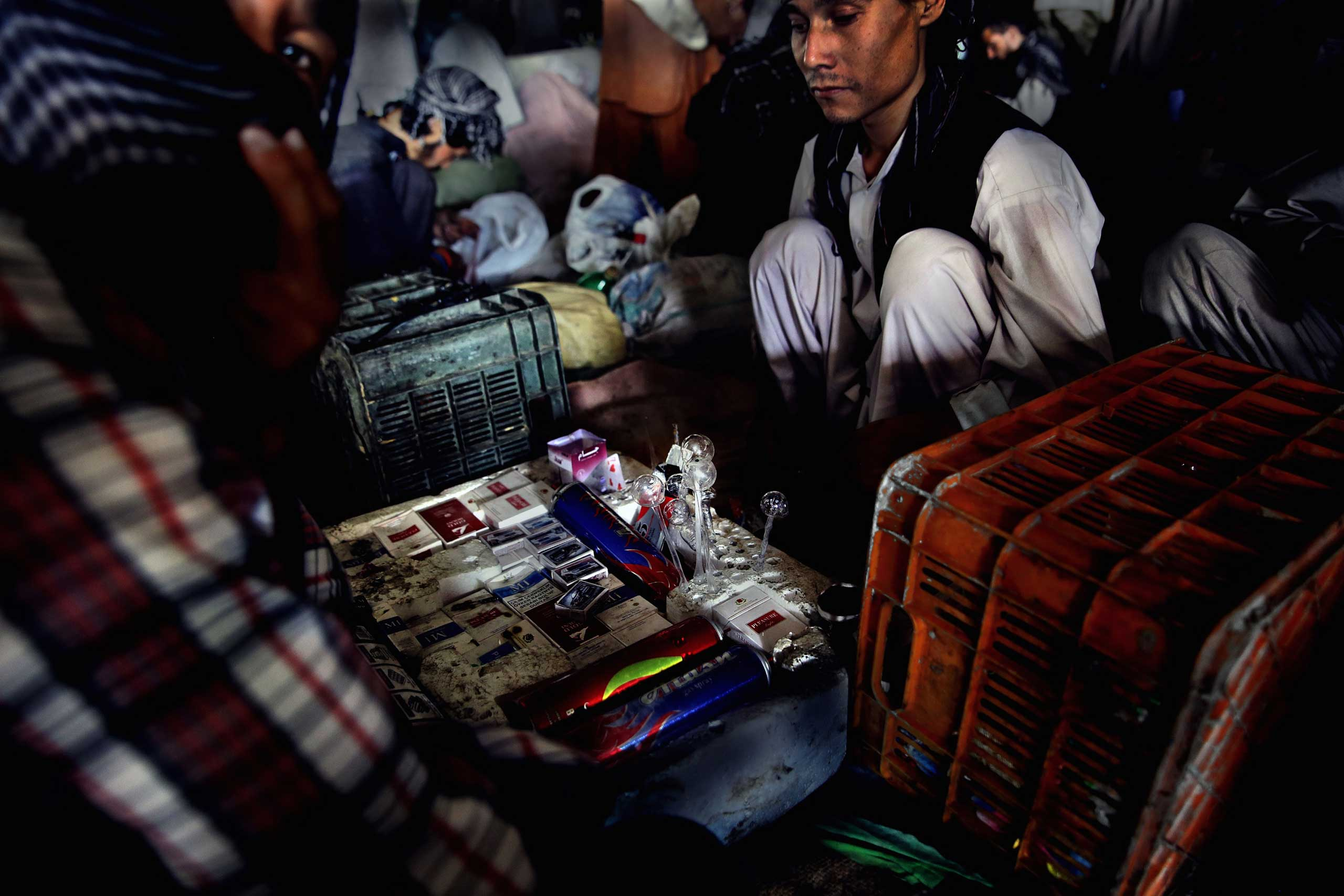 A community has formed under the Pul-e Sukhta bridge with addicts and dealers operating and often living in close quarters on Aug. 26, 2014.
