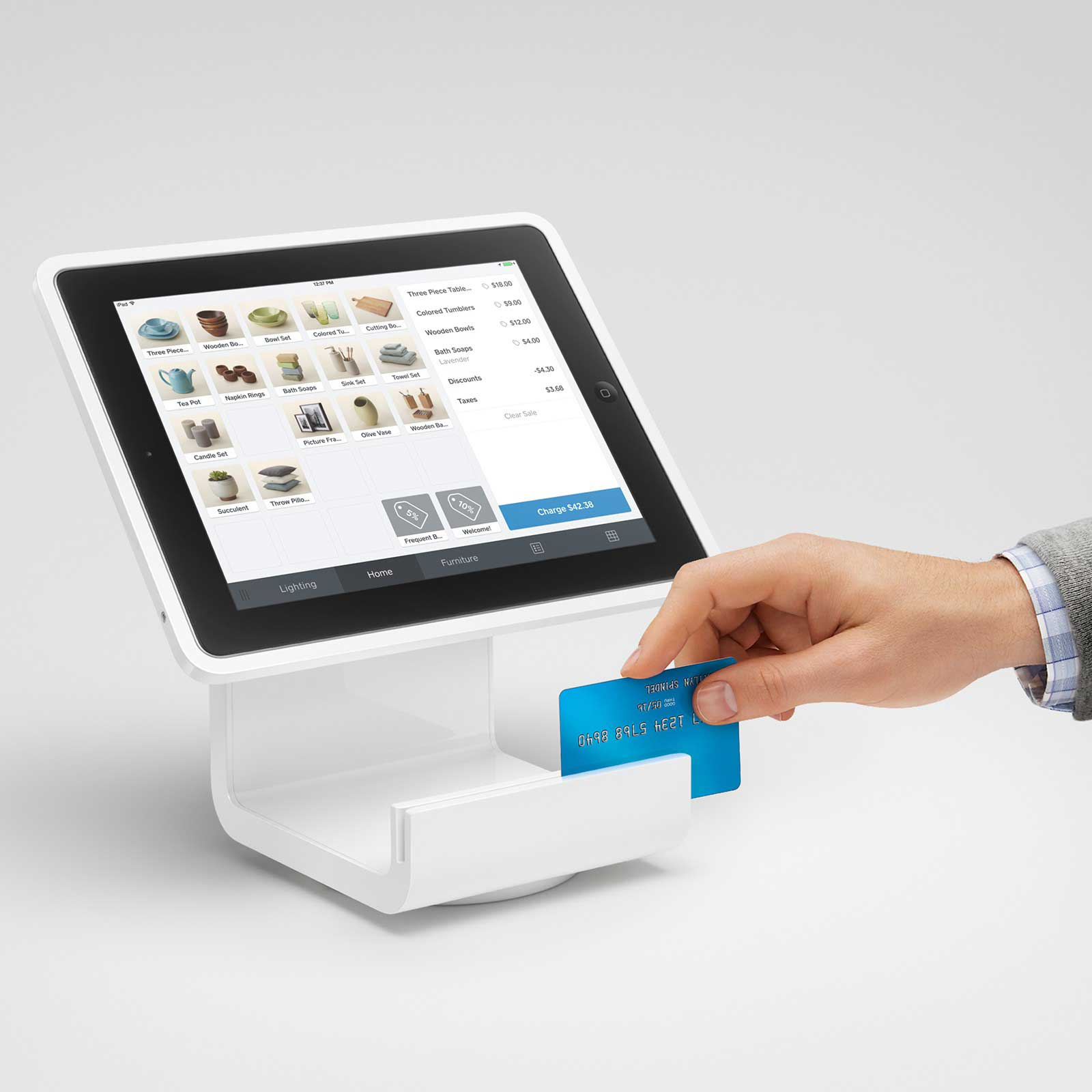 <strong>Square Stand                                   </strong>                                   The iPad holder and credit card reader launched last year with the goal of transforming an iPad into a point-of-sale. The sleek, white stand also offers an enhanced credit card reader, and can be adapted to include a cash register.
