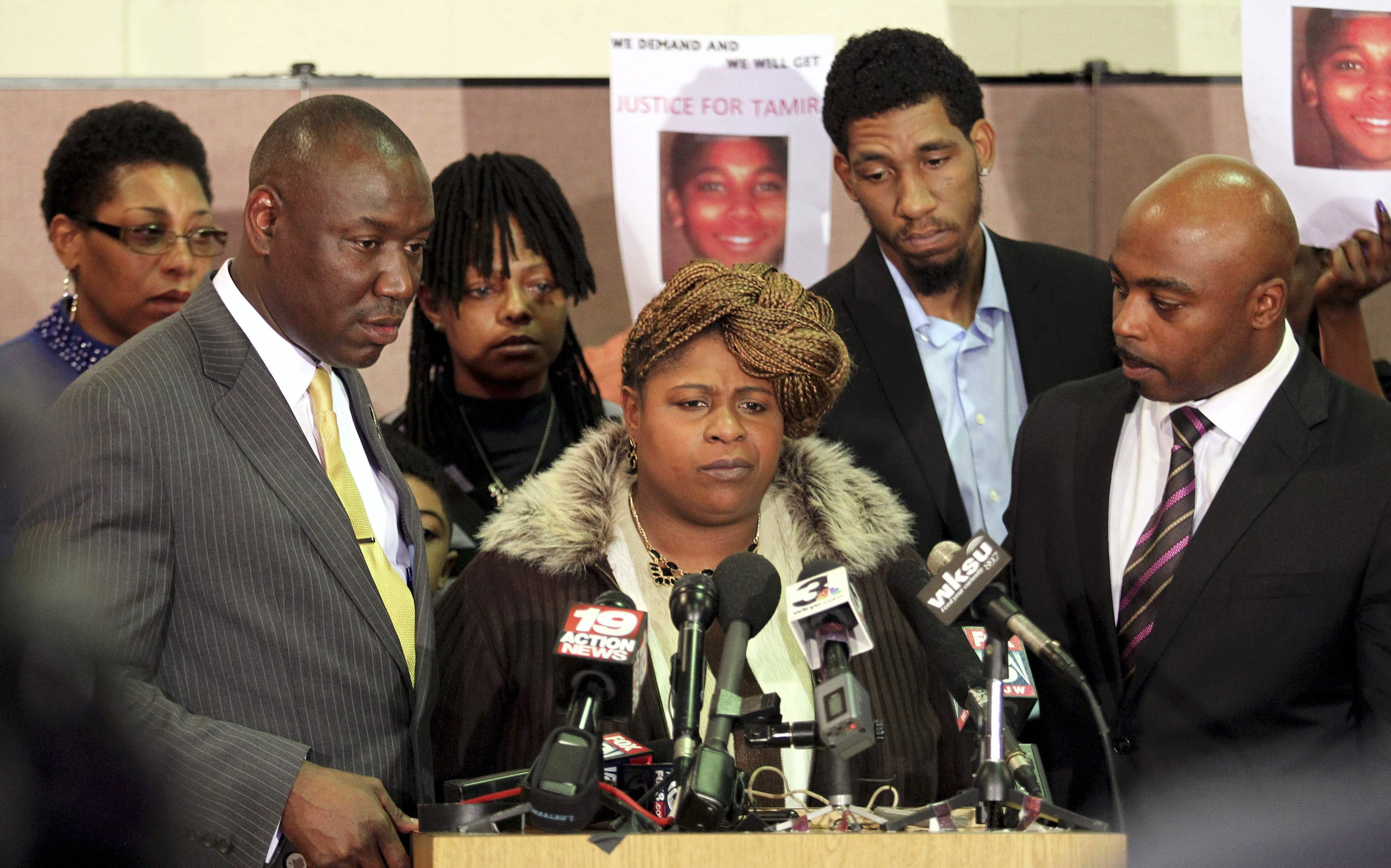 Samaria Rice the mother of Tamir Rice, the 12-year old boy who was fatally shot by police speaks during a news conference at the Olivet Baptist Church in Cleveland on Dec. 8, 2014.