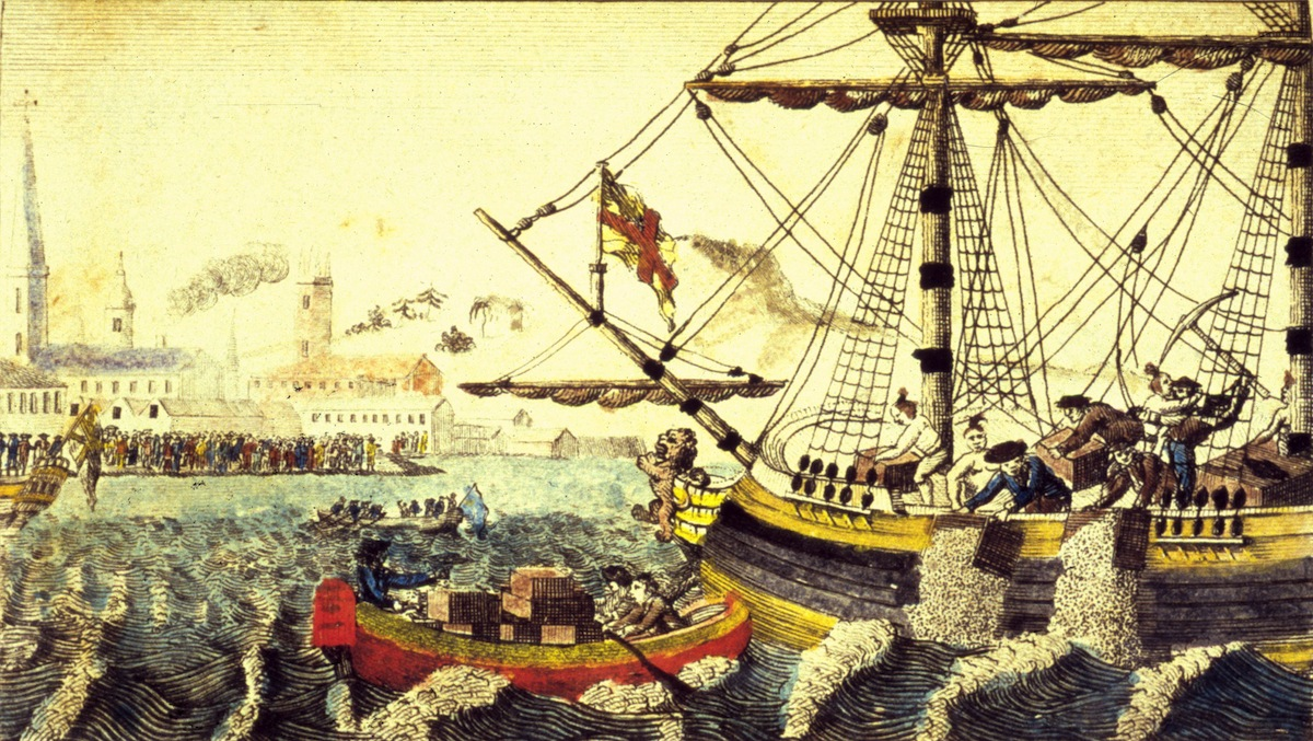 Artist's rendering of the Boston Tea Party of Dec. 16, 1773.