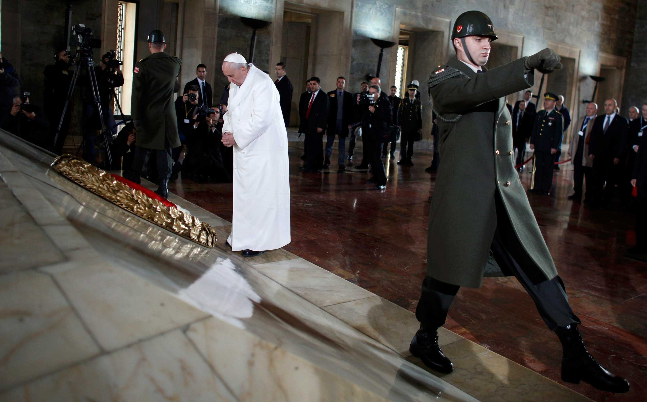 Nov. 28, 2014. Pope Francis lays wreaths at the mausoleum of Mustafa Kemal Ataturk, founder of modern Turkey, in Ankara. Pope Francis visits Turkey with the delicate mission of strengthening ties with Muslim leaders while condemning violence against Christians and other minorities in the Middle East.