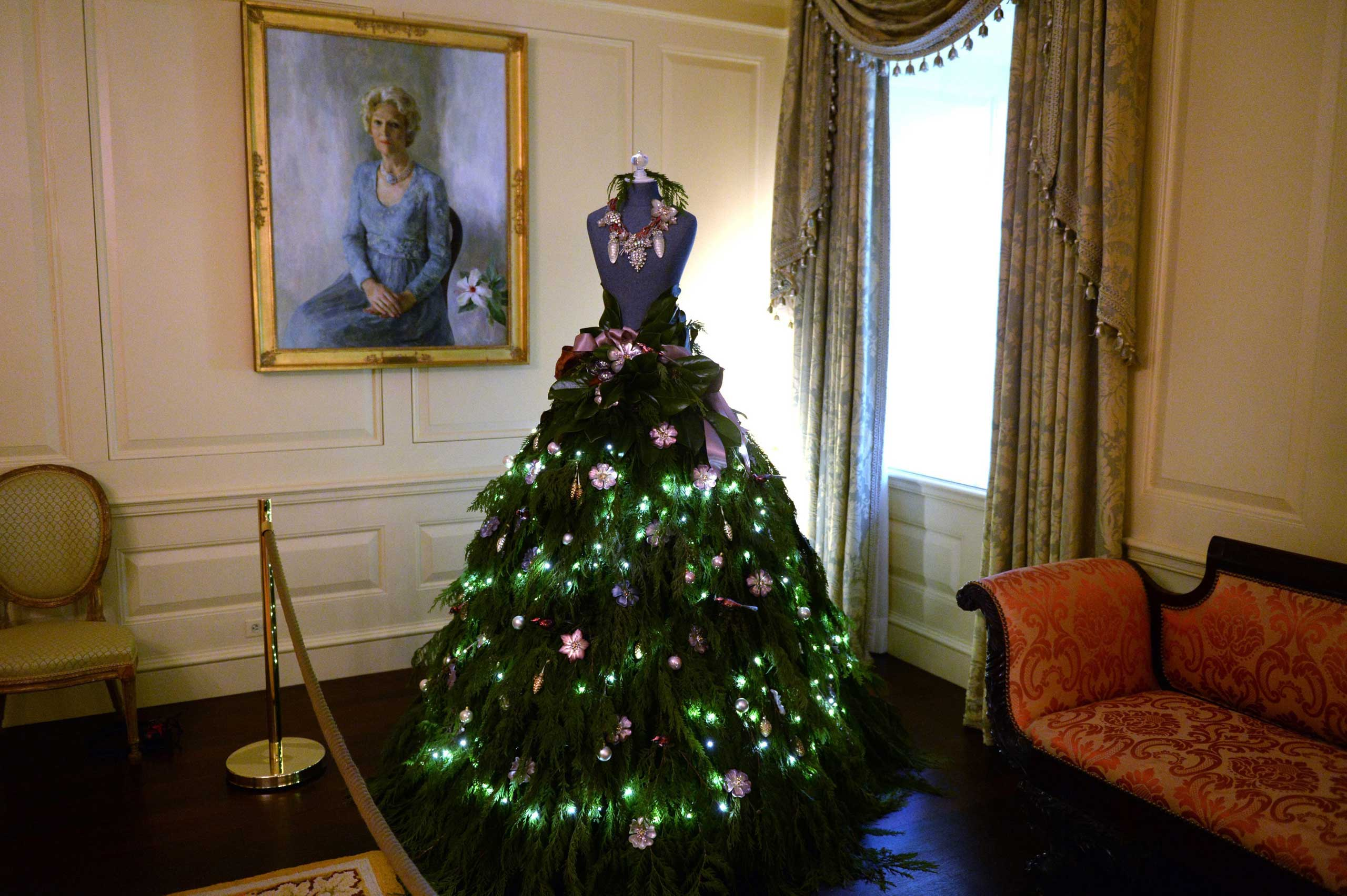Dec. 03, 2014. A dress form mannequin with a Christmas skirt in the Vermeil room is part of A Children's Winter Wonderland 2014 White House Christmas decorations in the White House in Washington, D.C.