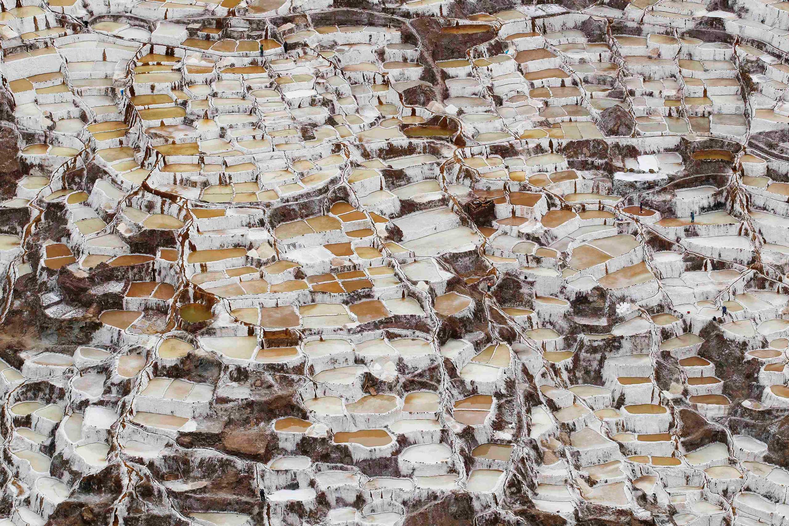 Dec. 3, 2014. A view of salt ponds at the Maras mines in Cuzco, Peru.