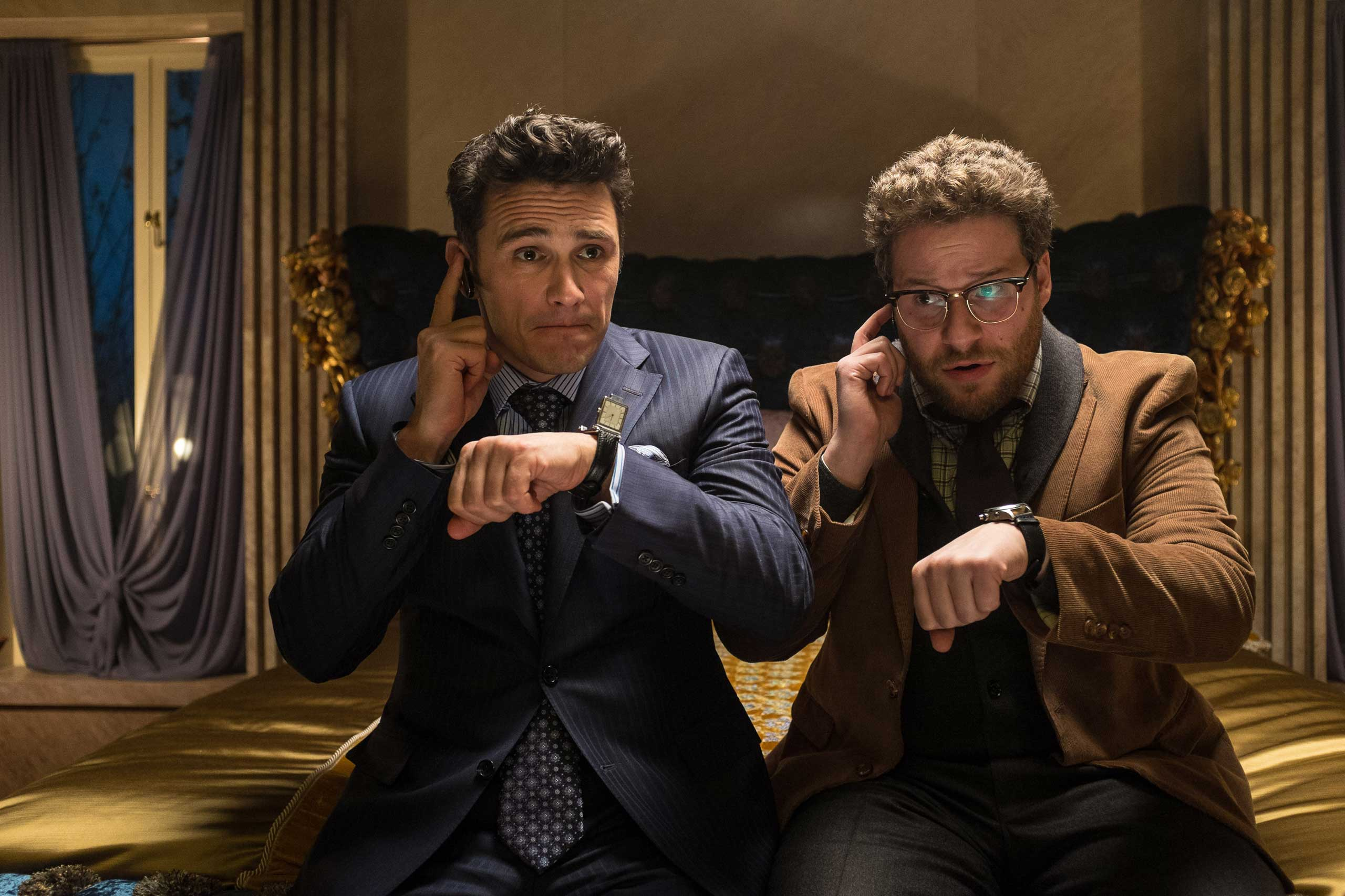 James Franco, left, as Dave, and Seth Rogen as Aaron, in a scene from  The Interview.