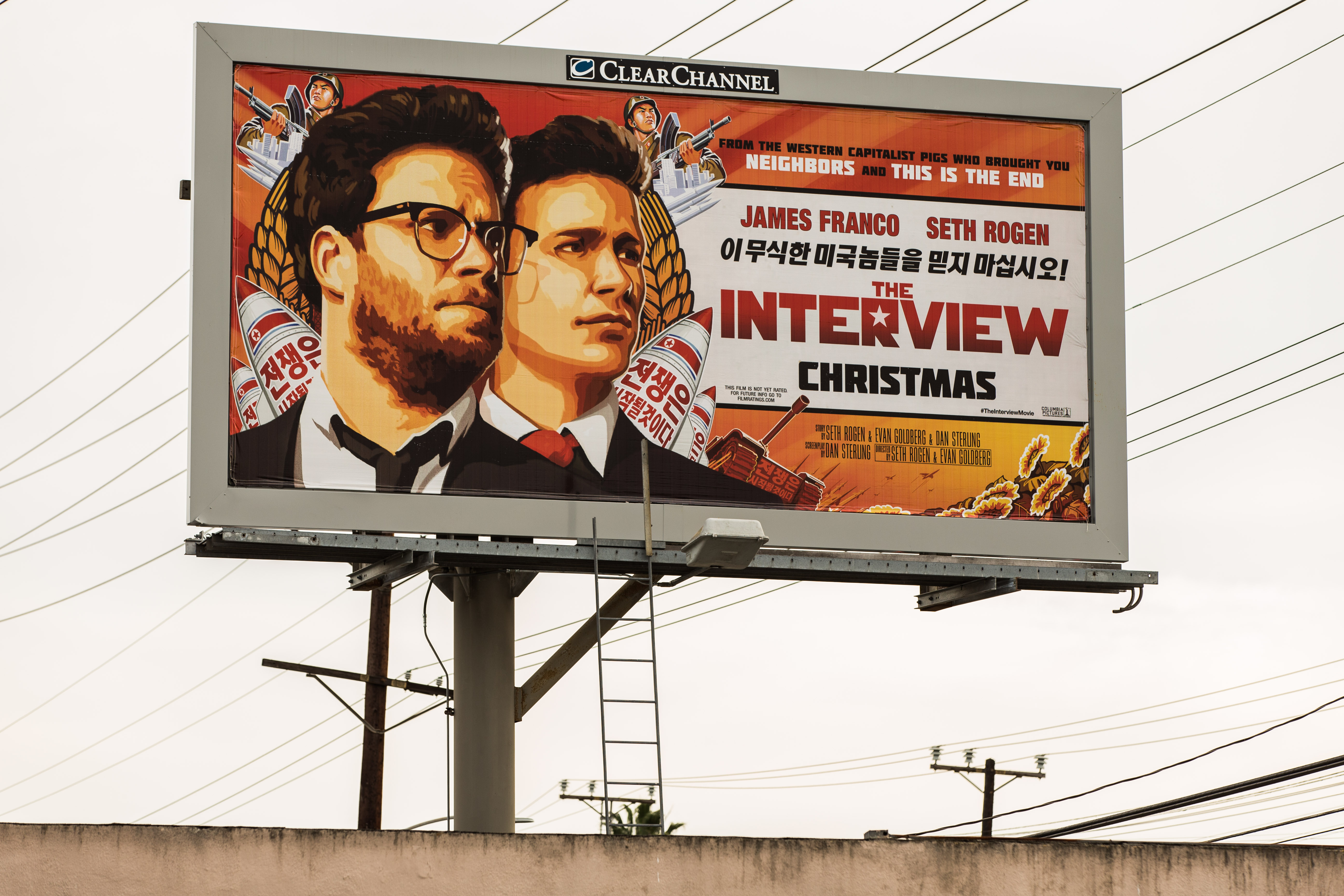 A billboard for the film 'The Interview' is displayed Dec. 19, 2014 in Venice, Calif.