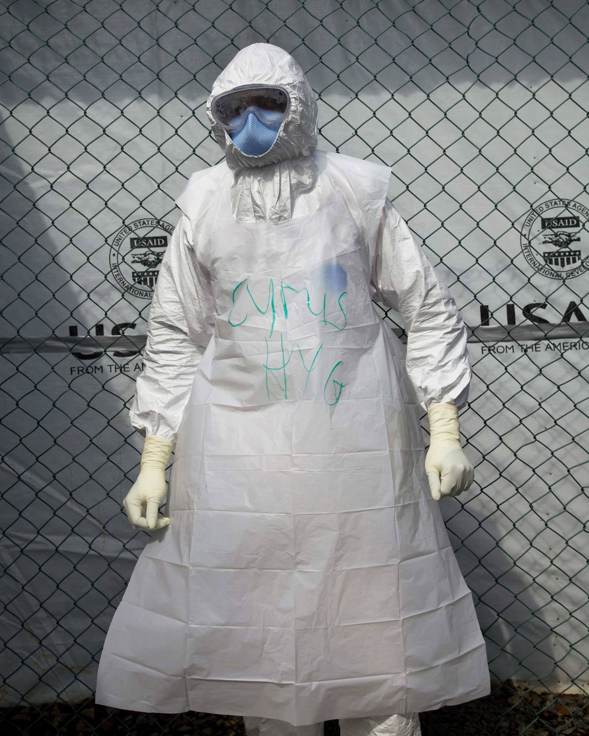 A Nurse and Hygienist trainee dressed in PPE at the Liberian Ministry of Health's Ebola Treatment Unit at the former Ministry of Defense compound, in Monrovia, Liberia. Nov. 27, 2014