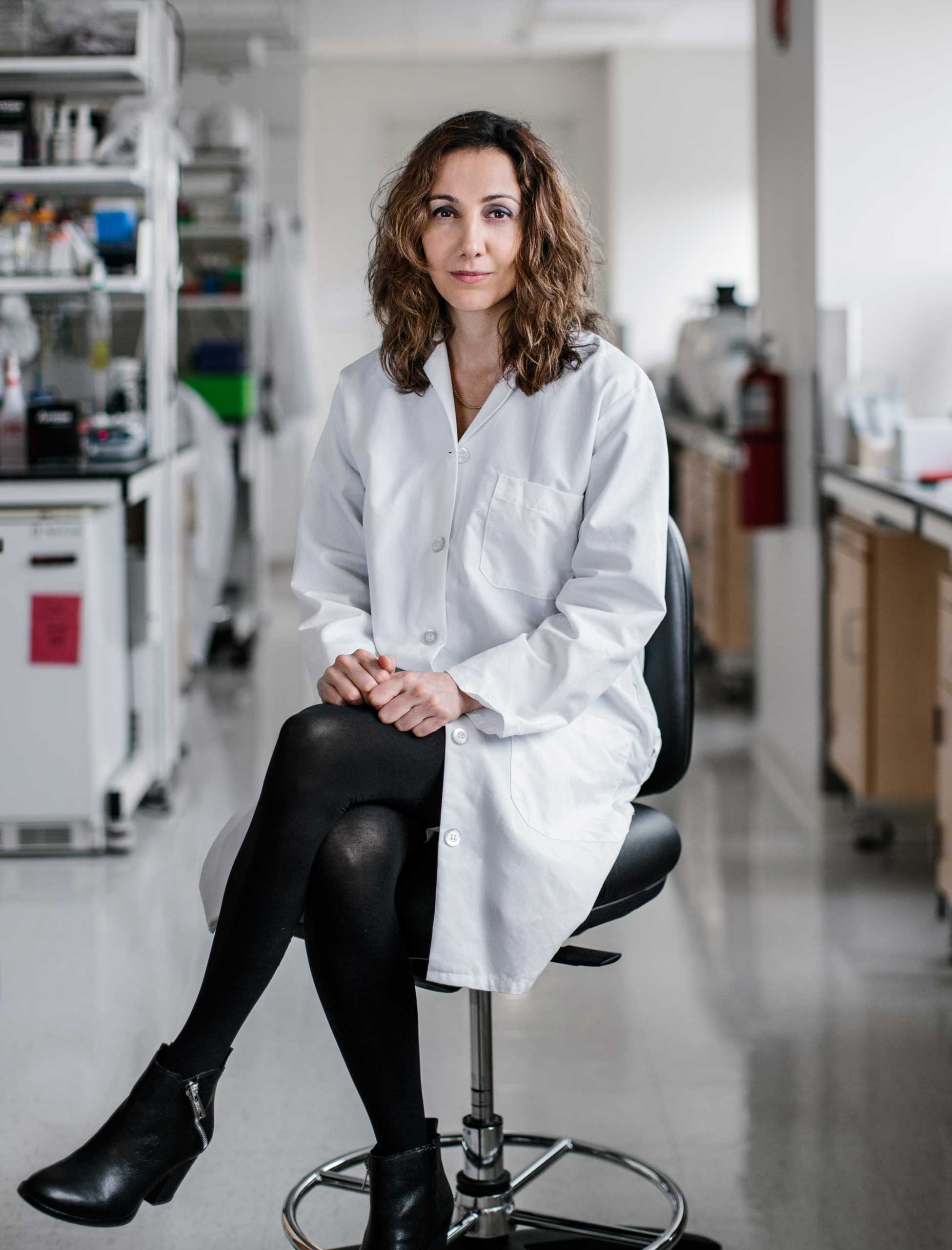 Dr. Pardis Sabeti photographed in her lab at the Broad Institute in Cambridge. Nov. 26, 2014. Dr. Sabeti sequenced the Ebola Genome from this outbreak.