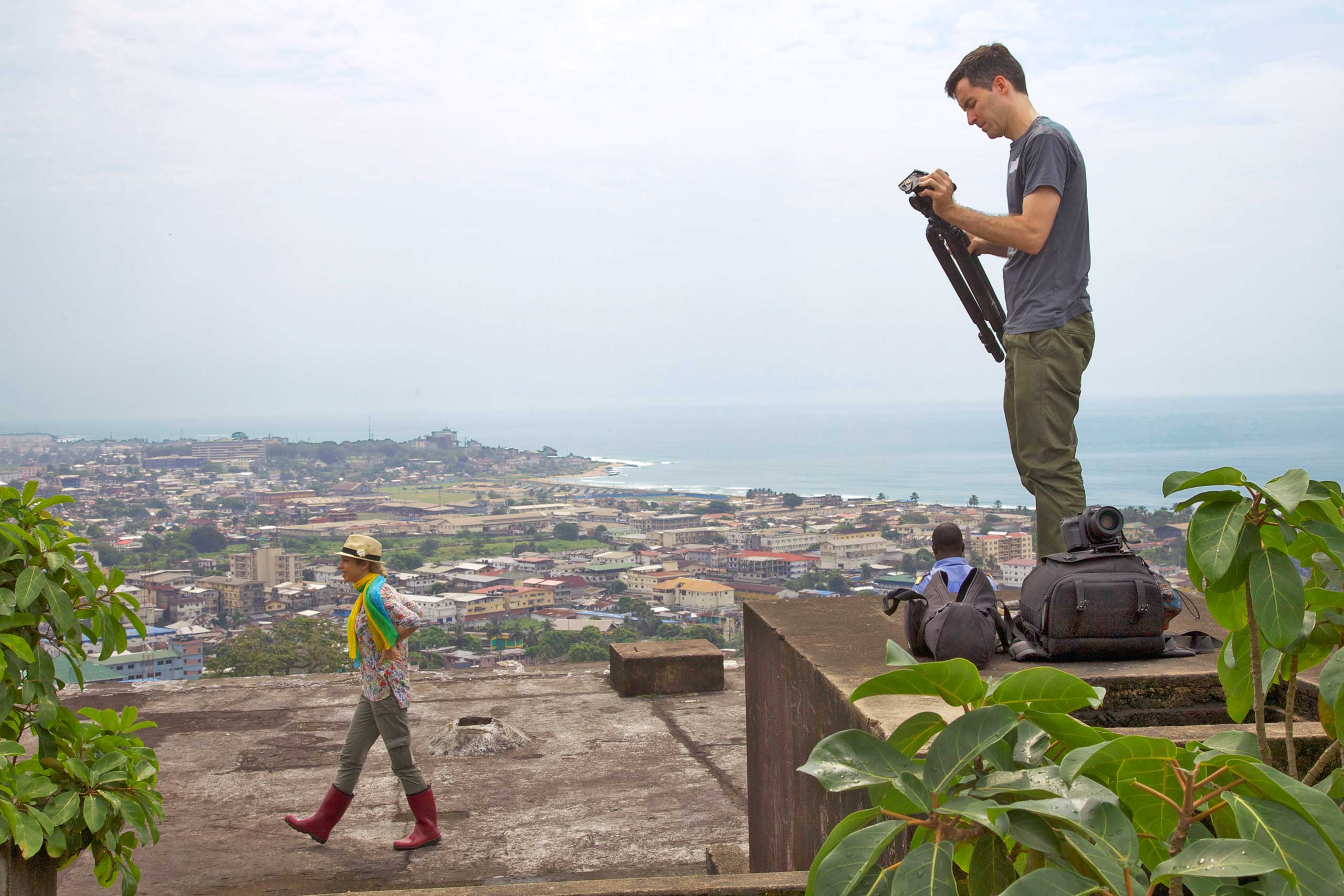TIME's Deputy Director of Photography Paul Moakley (right) and TIME's Africa Bureau Chief Aryn Baker in Monrovia, Liberia