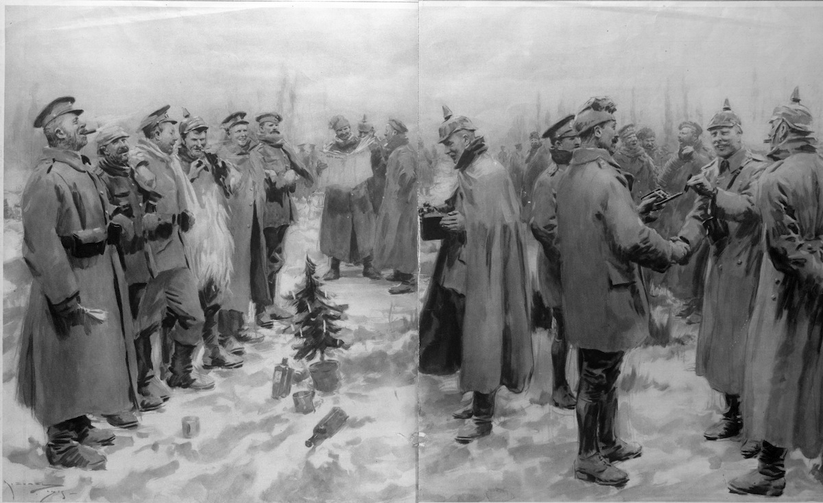 German and British troops celebrating Christmas together during a temporary cessation of WWI hostilities known as the Christmas Truce.