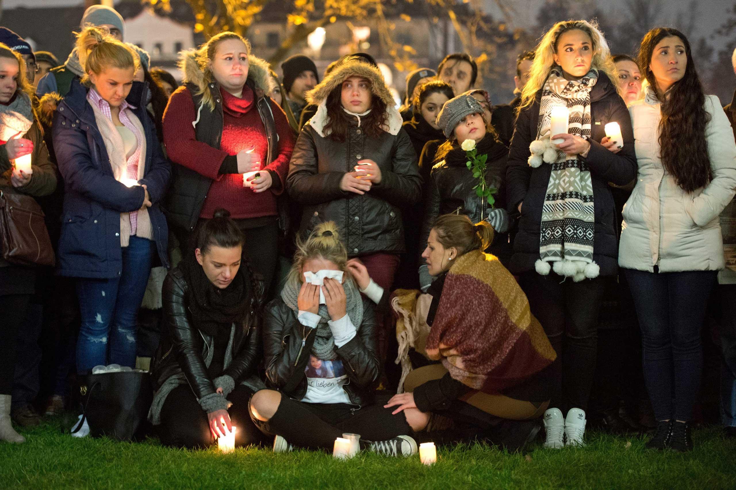 Vigil outside the hospital that treated Tugce Albayrak in Offenbach am Mein, Germany, Nov. 28, 2014.