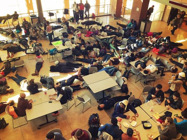 "Erin Castellano, Journalism Advisor at Clayton High School, shared this image of a ""die-in"" at Clayton High School, near St. Louis."