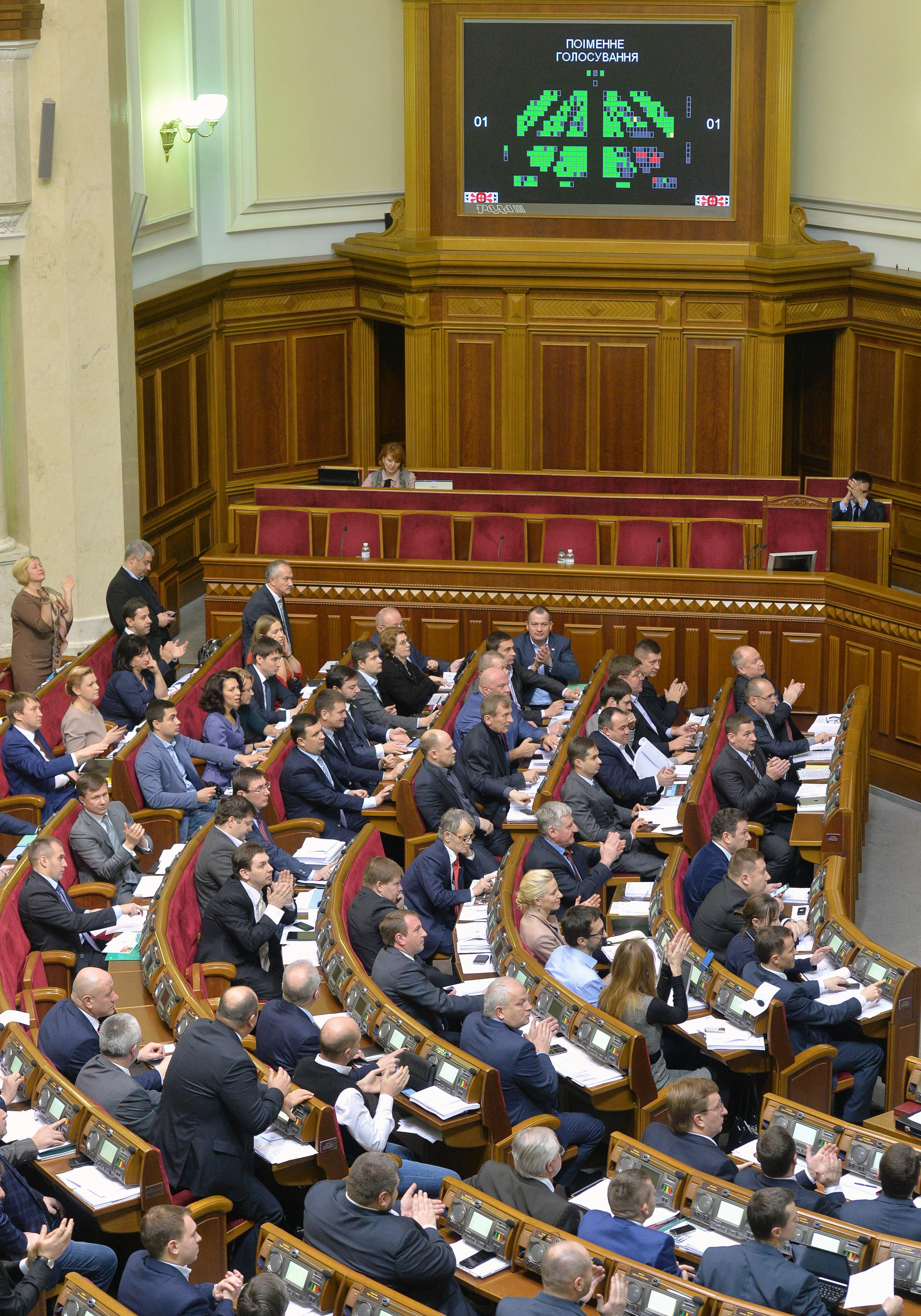 Deputies of Ukrainian Parliament vote for a bill dropping Ukraine's non-aligned status in Kiev on December 23, 2014.
