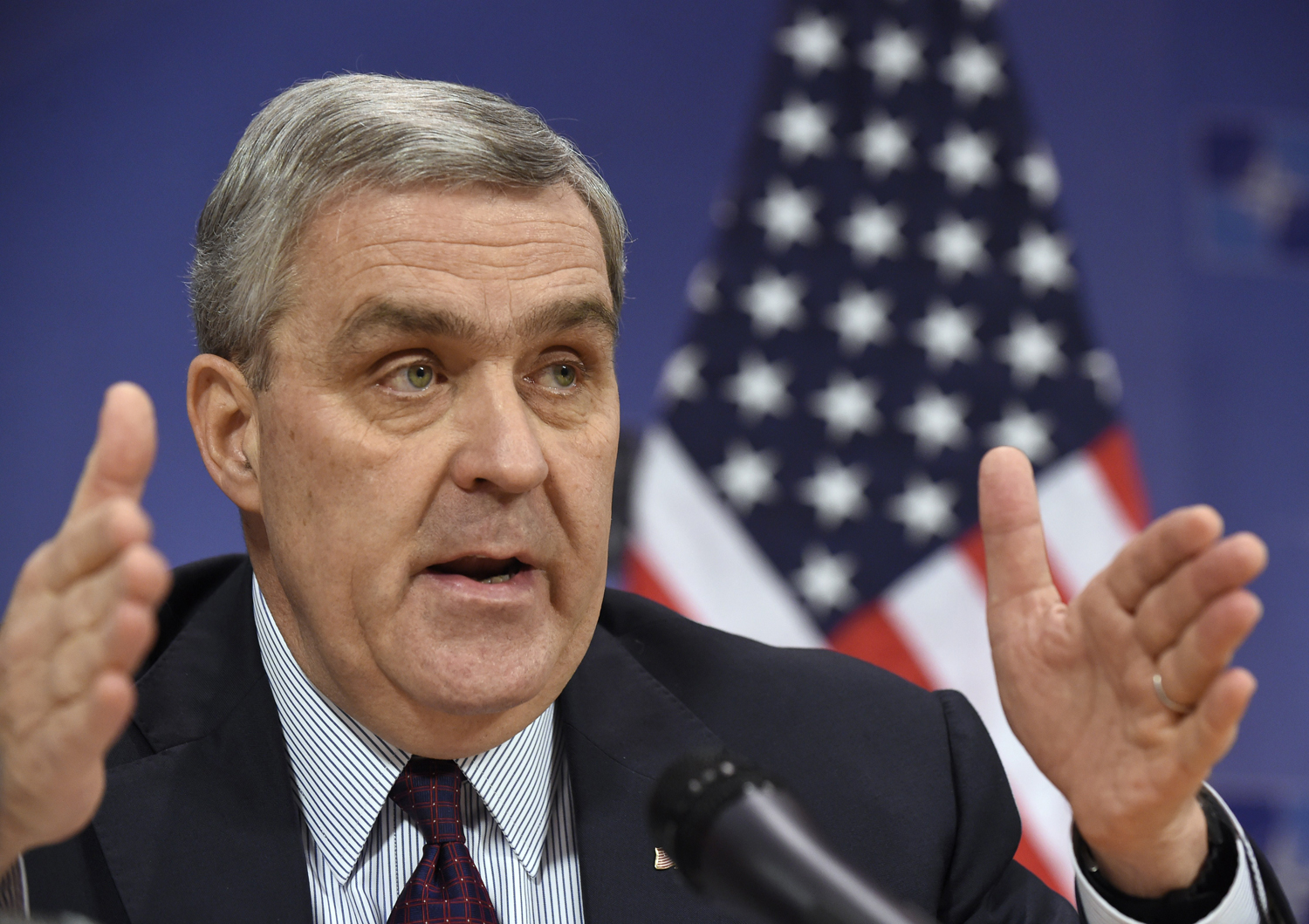 US Ambassador to NATO Douglas Lute gives a press conference on Dec. 1, 2014, at the organization's headquarters in Brussels.