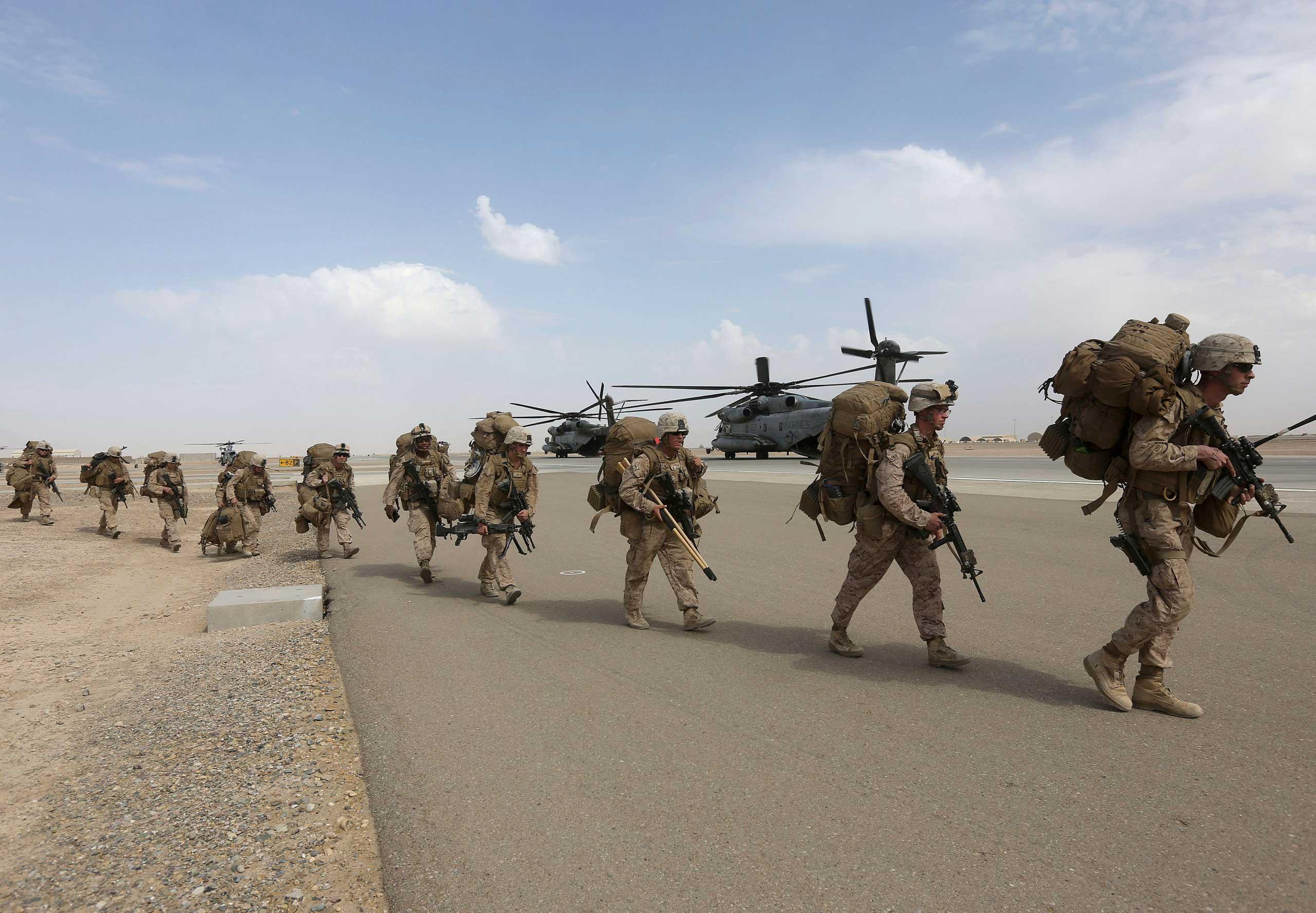 U.S. Marines prepare to depart Helmand Province, Afghanistan on Oct. 27, 2014.