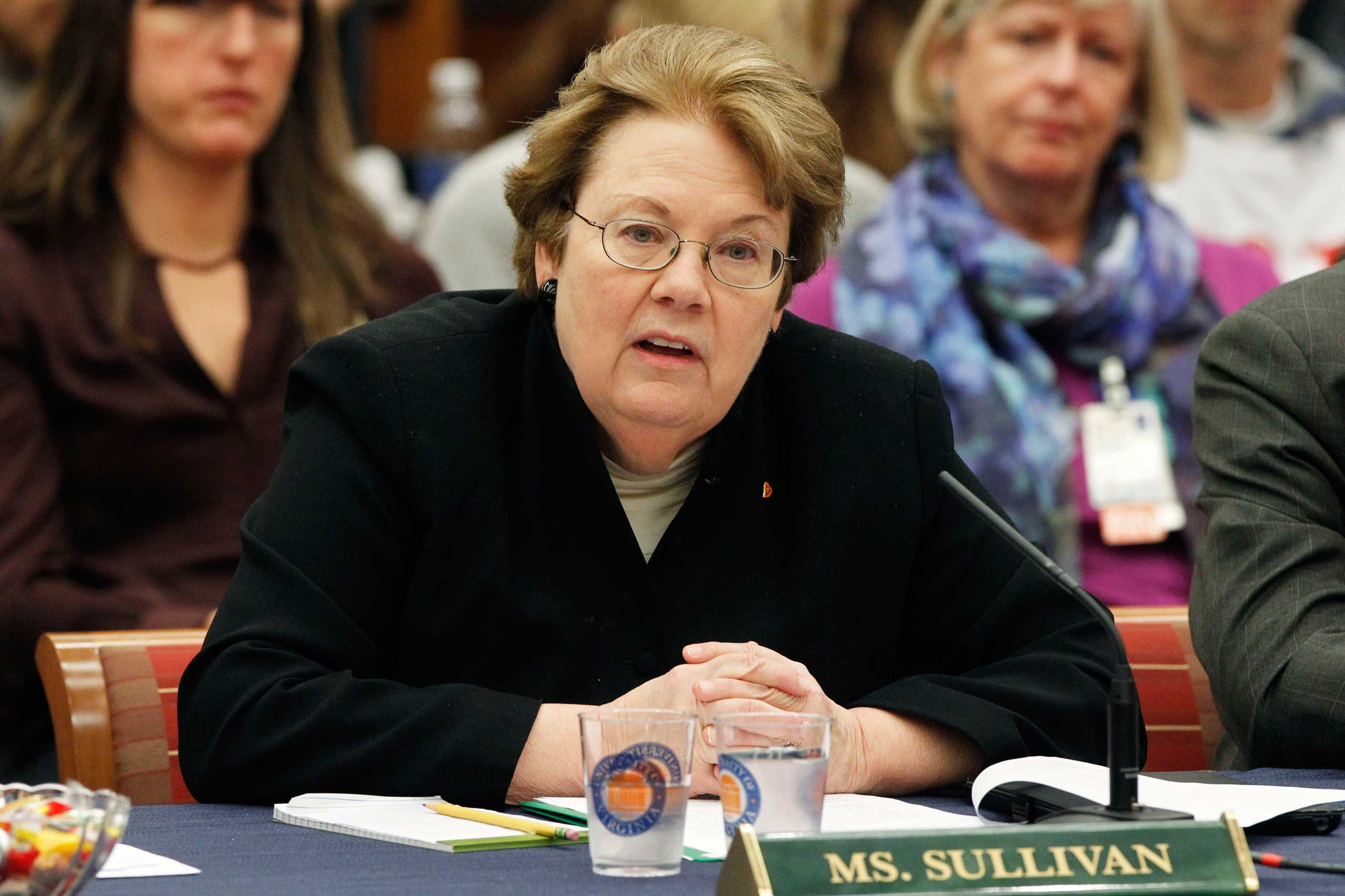 University President Teresa Sullivan speaks during a board of visitors meeting about sexual assault at the University of Virginia in Charlottesville, Va. on Nov. 25, 2014.