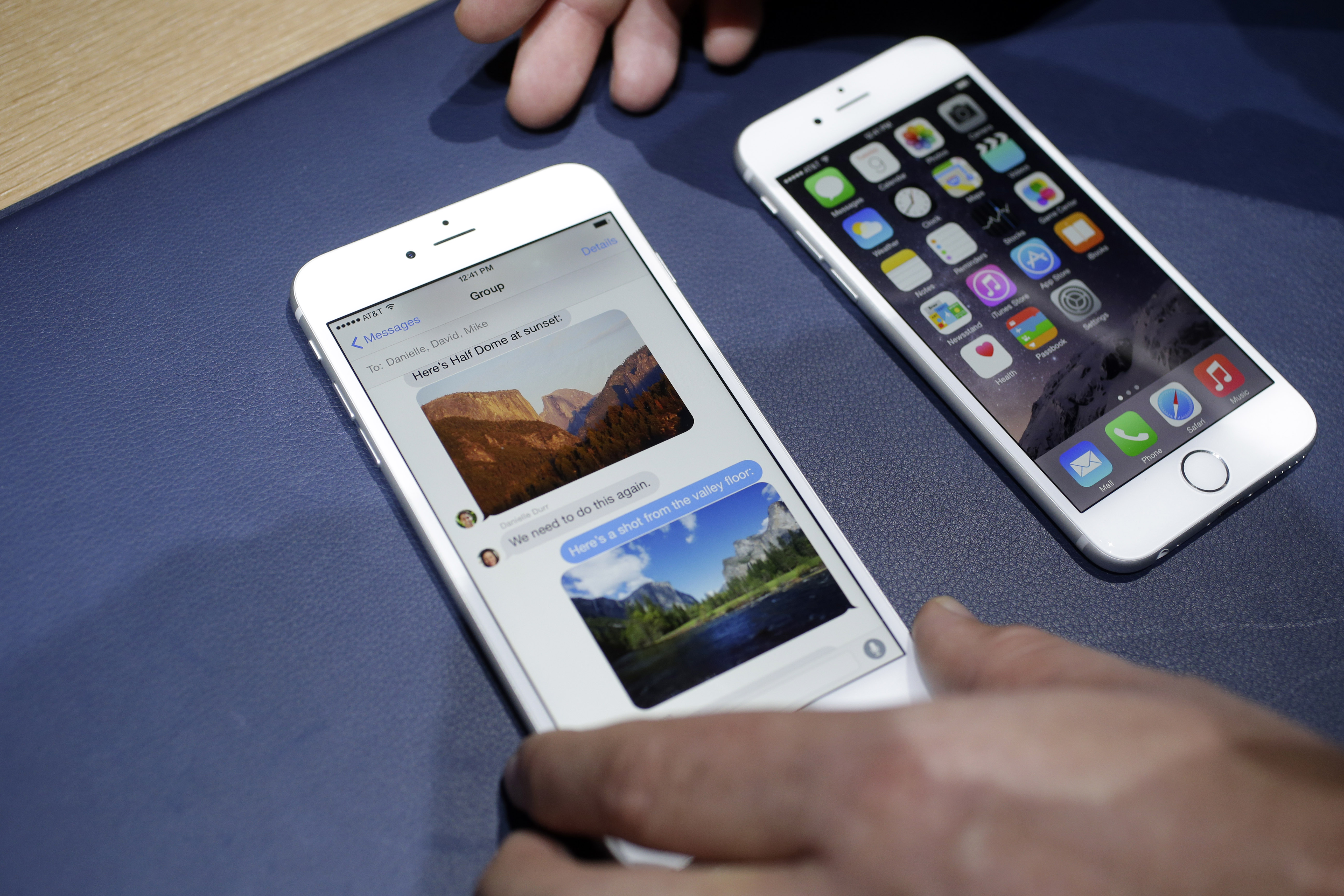 The iPhone 6 plus, left, and iPhone 6 are displayed, in Cupertino, Calif.