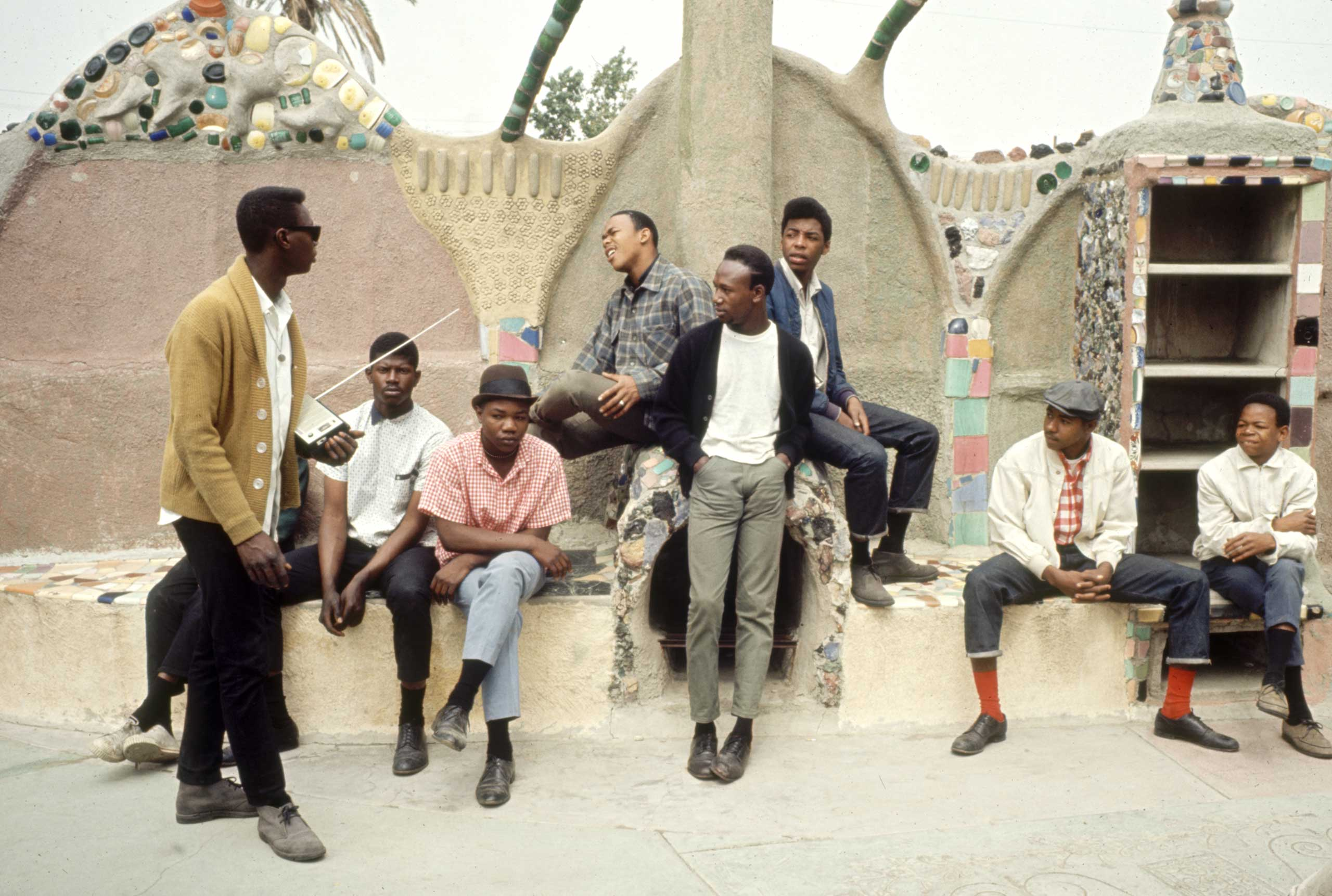 <b>Not published in LIFE.</b> Young men hang out near Simon Rodia's Watts Towers, 1966.