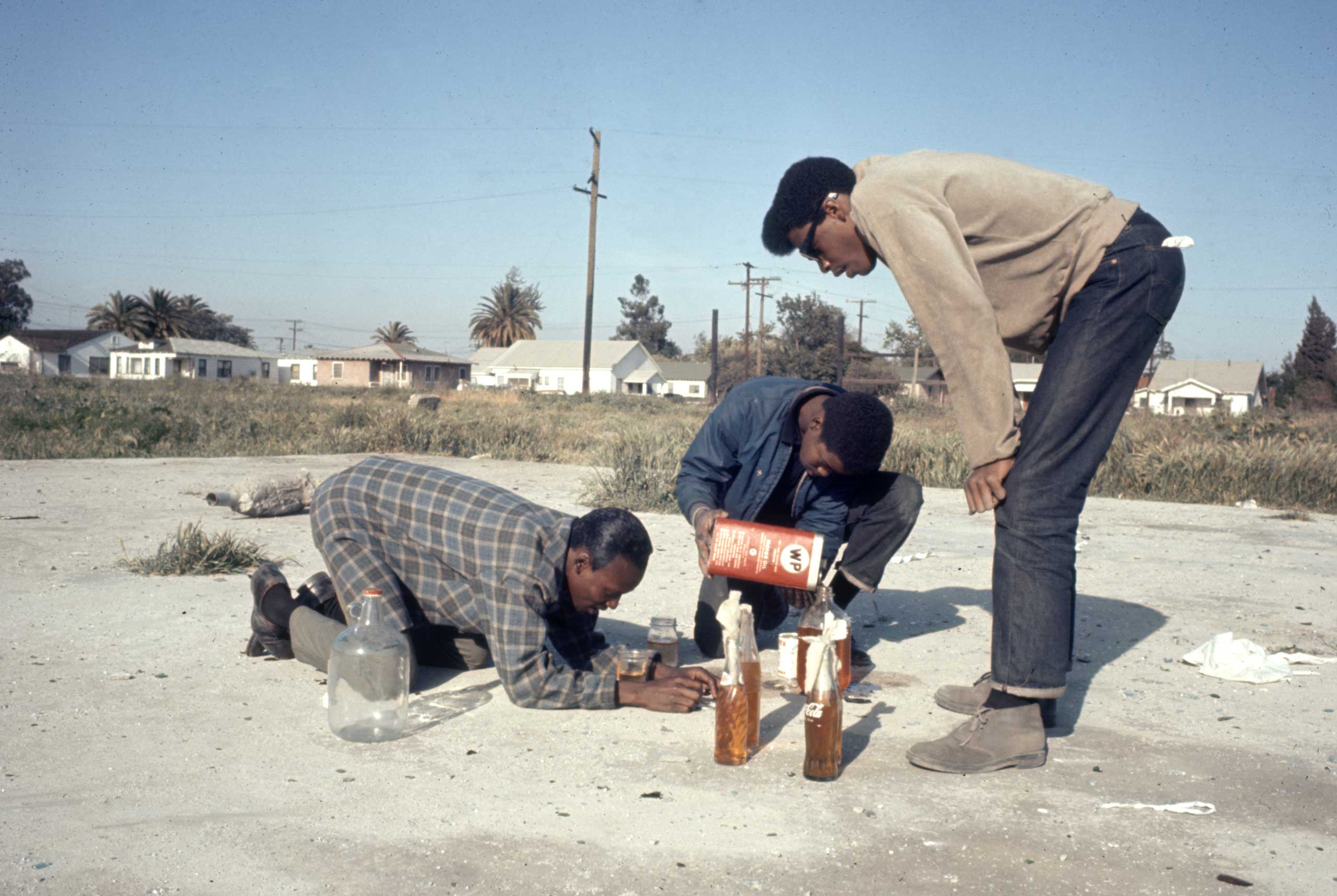<b>Not published in LIFE.</b> Molotov cocktails in Watts, 1966.