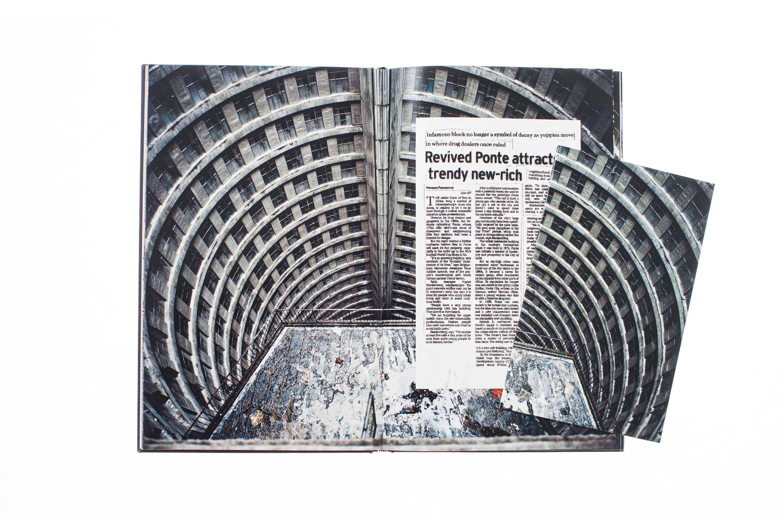 Ponte City The  booklets which expand on specific aspects of the project are designed to be inserted at different points in the book by the reader.