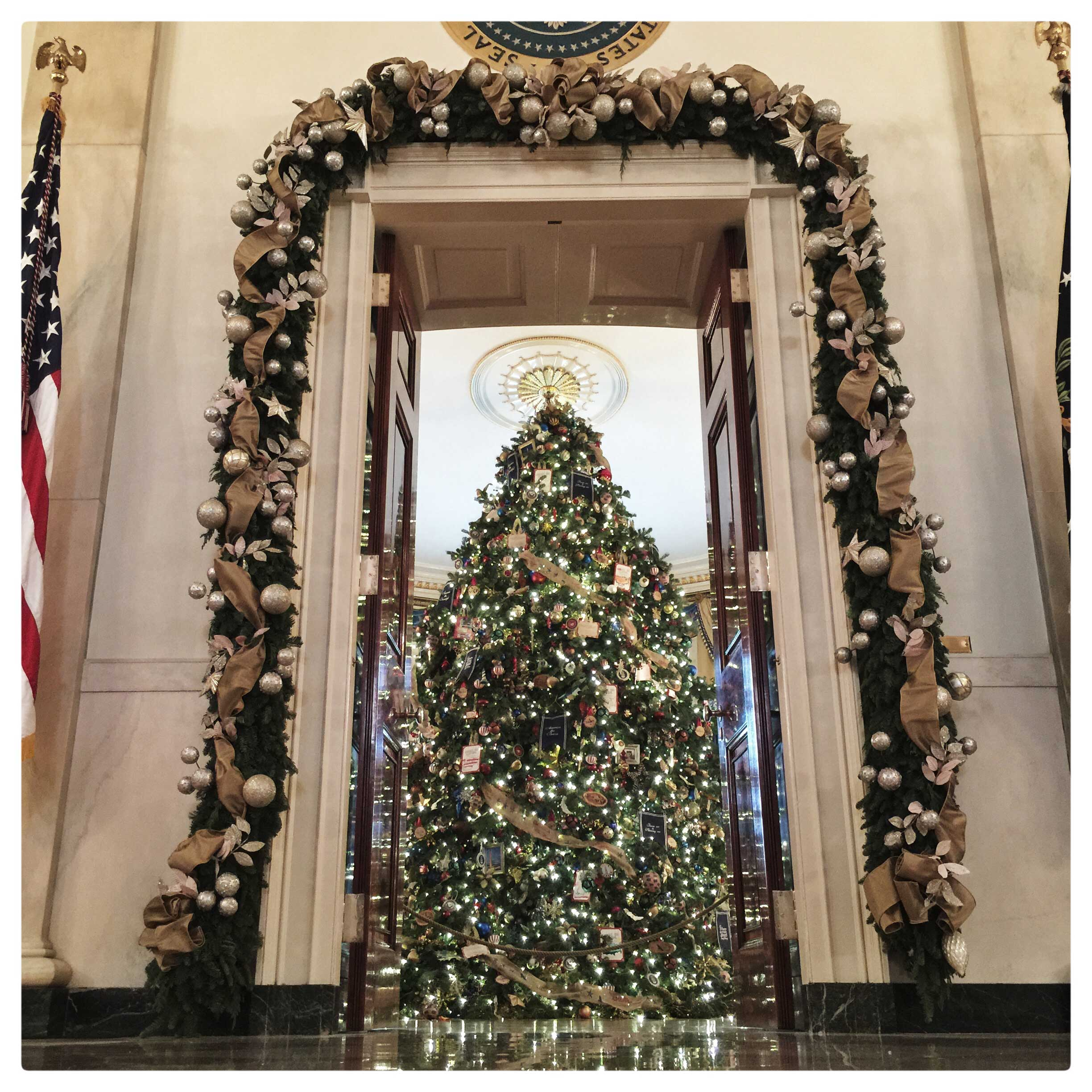 The official White House Christmas tree in the Blue Room at the White House. The 18 foot tree has over 2000 ornaments. A total of 26 Christmas trees are part of the decorations.