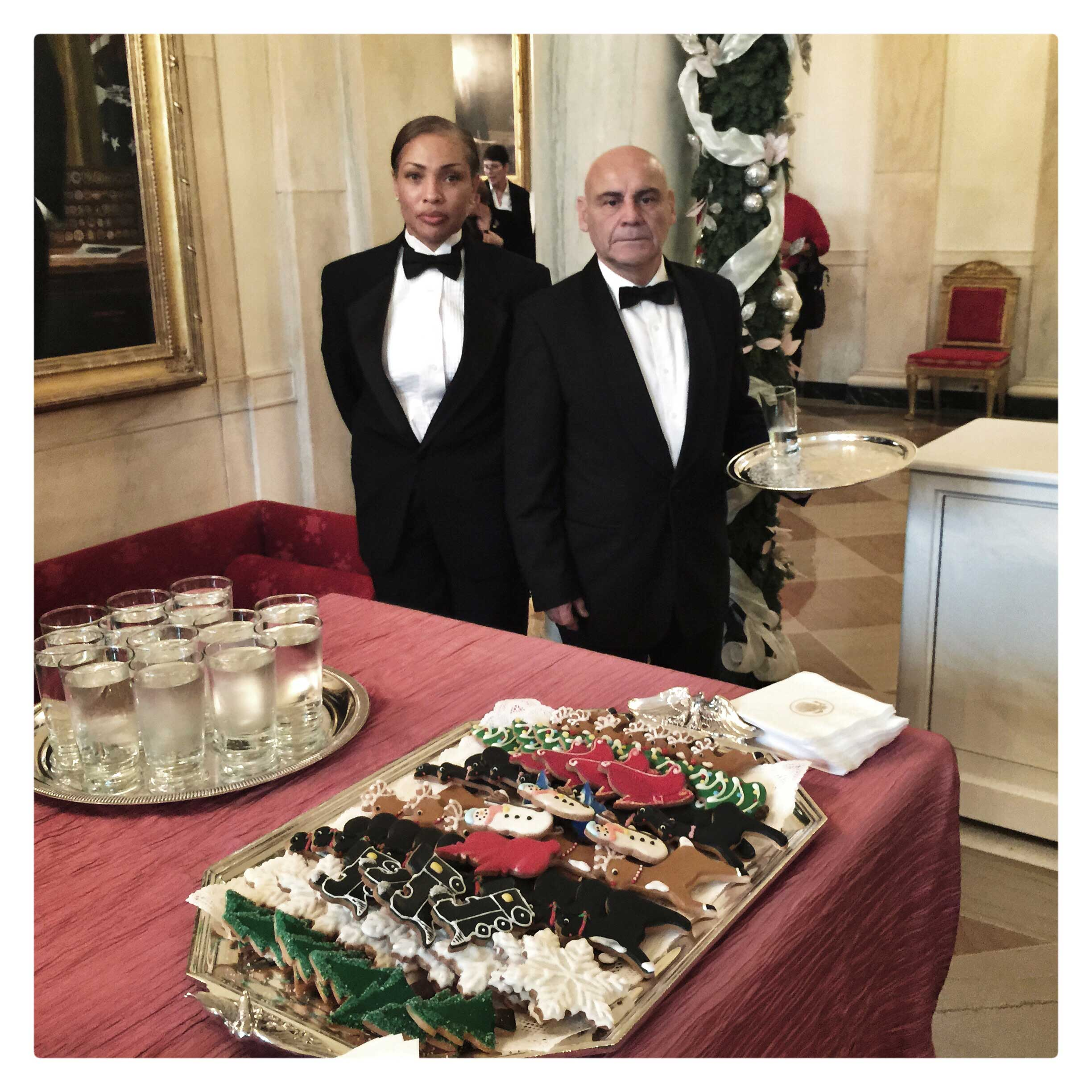 White House waiters during a preview of the holiday decorations at the White House.
