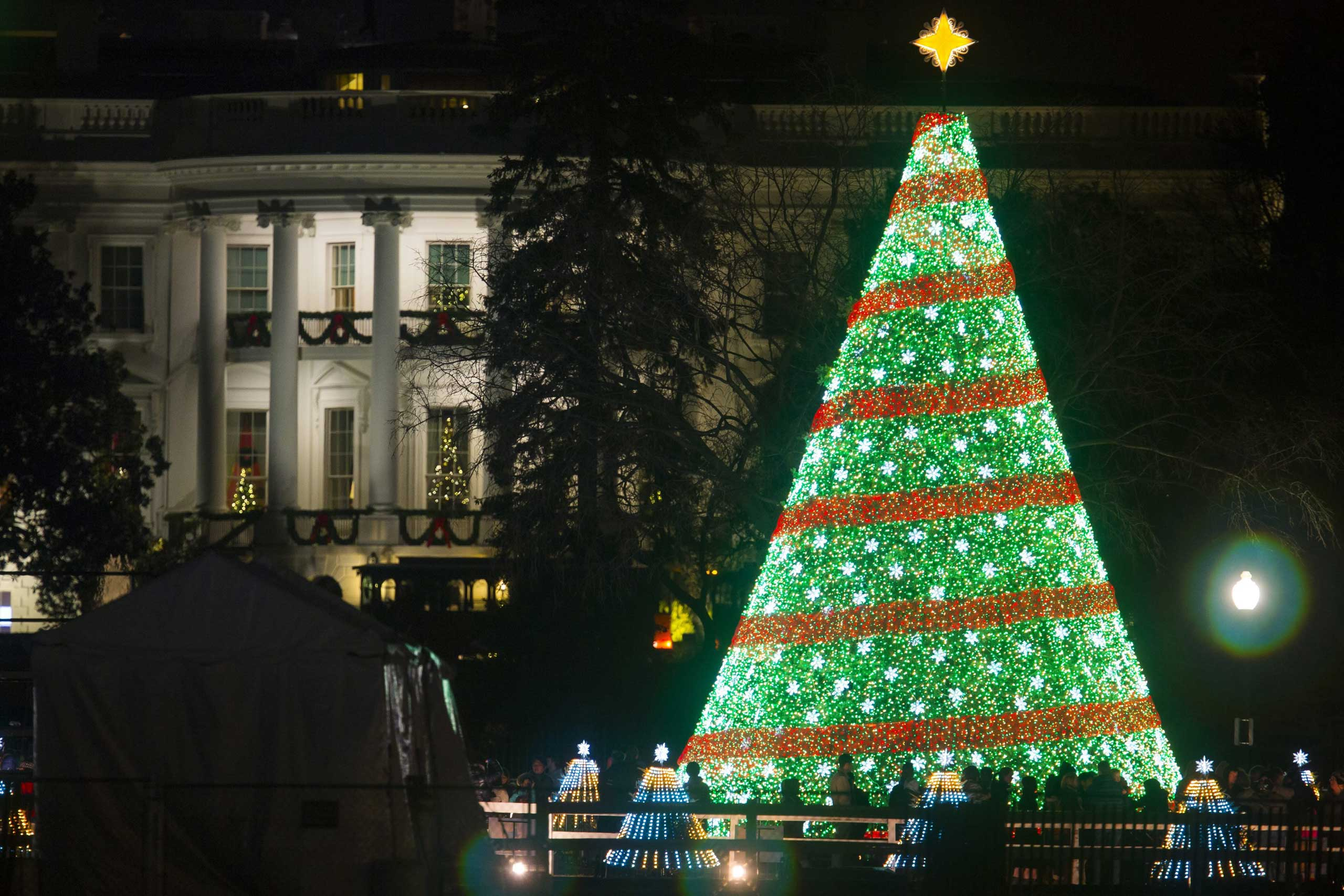 The National Christmas Tree is seen on the Ellipse, south of the White House in Washington on Dec. 7, 2014.