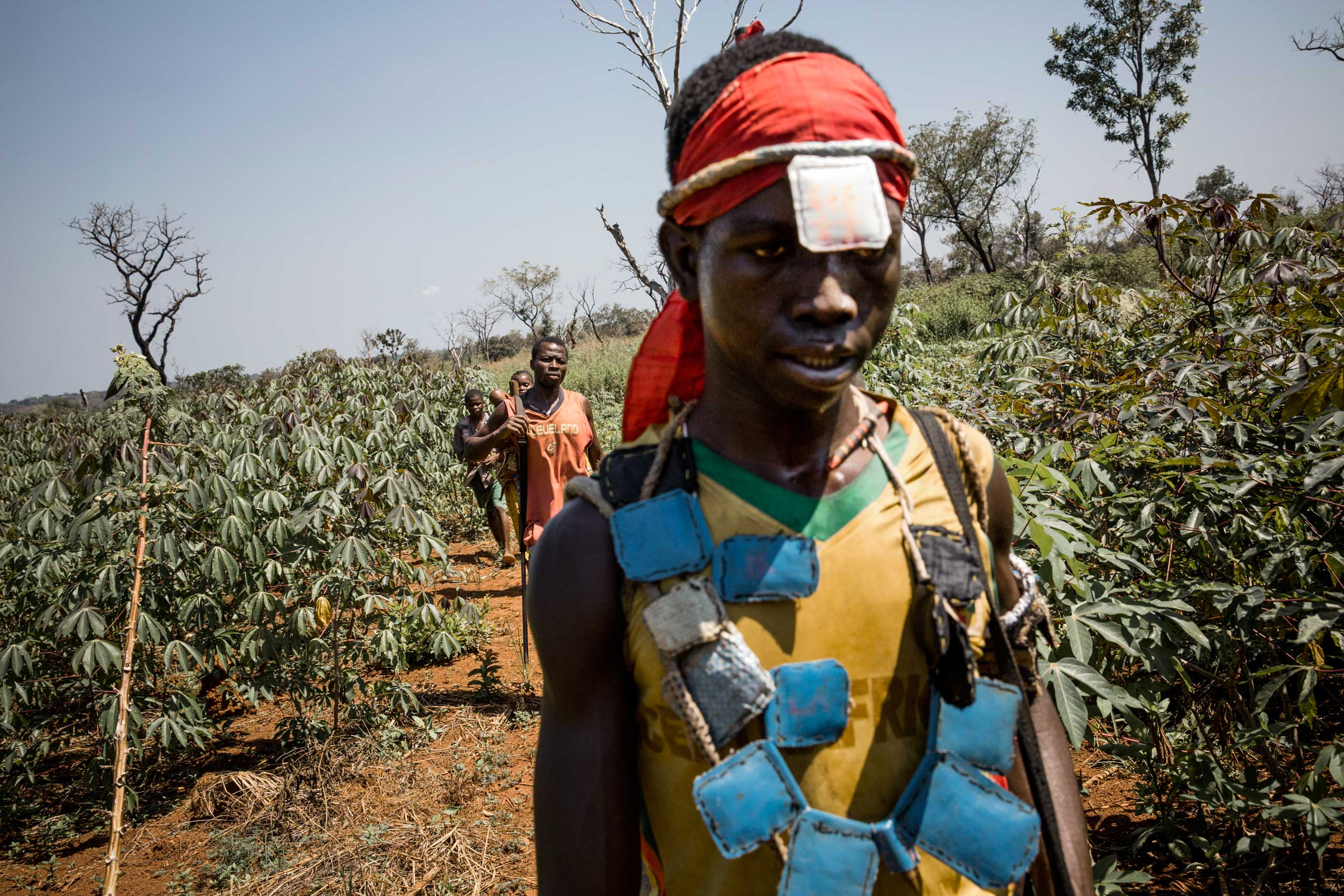 Anti-balaka fighters are seen in the bush between Bossangoa and Bossembelé. Central African Republic. Nov. 21, 2013.