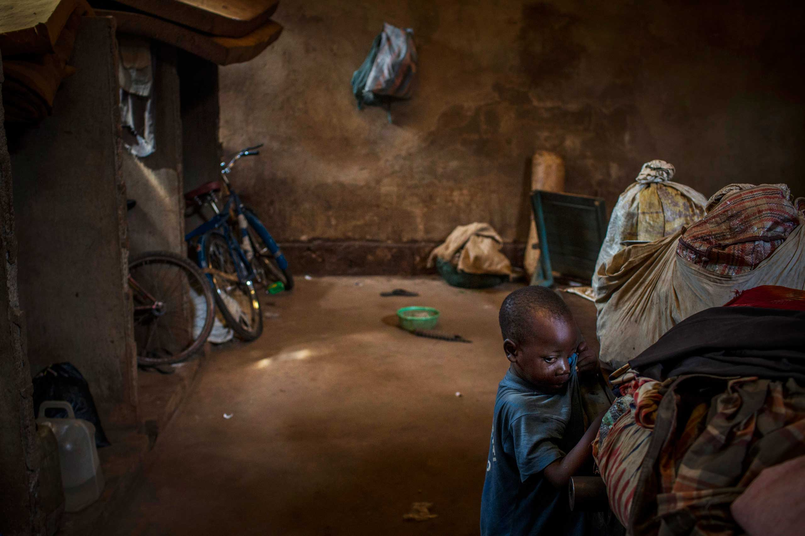 About 40,000 displaced people, many of them Christians who left their village attacked by the Séléka, took refuge in and around a cathedral. Bossangoa, Central African Republic. Nov. 19, 2013.