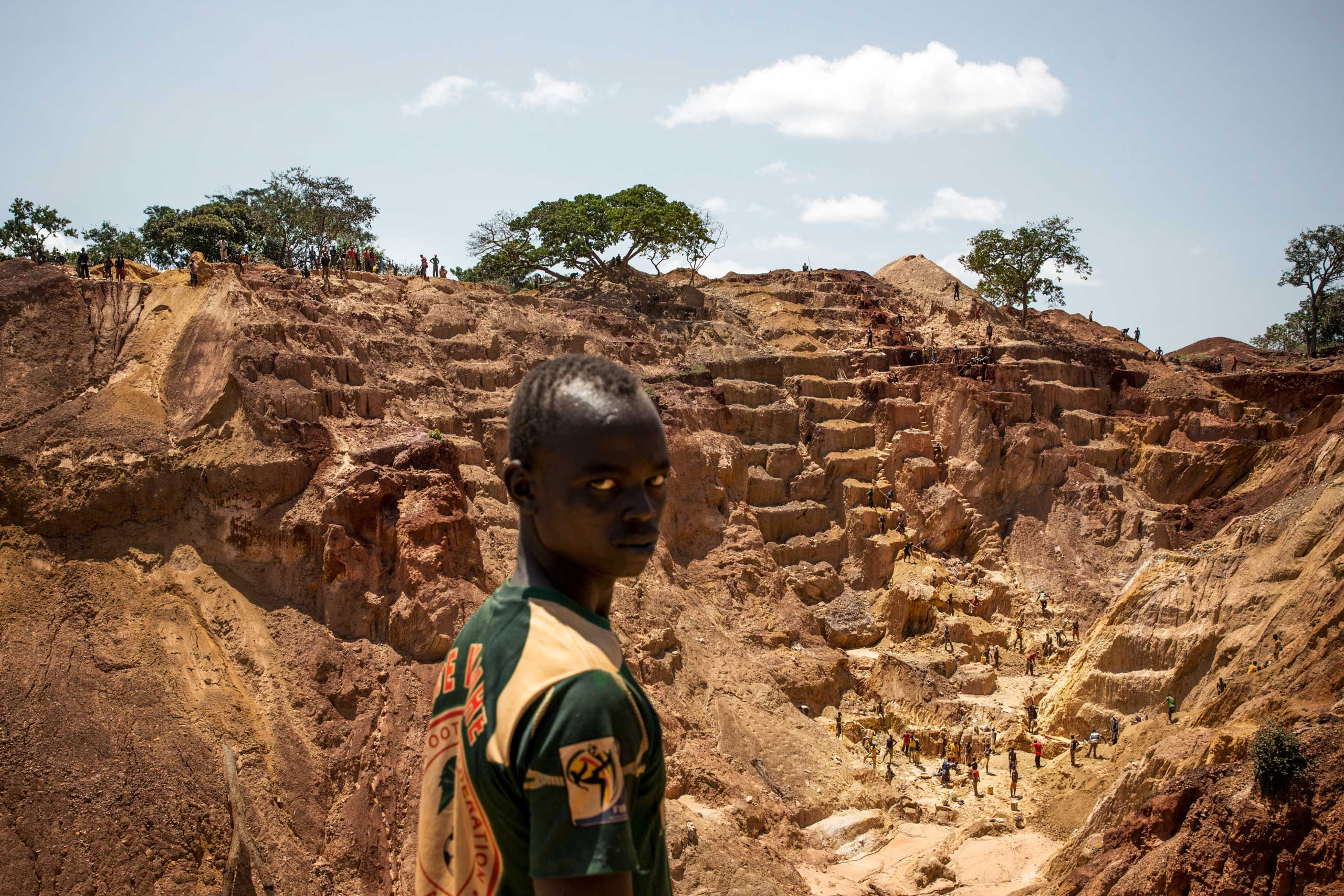 A man at the Ndassima gold mine, which was run by Aurafrique, a subsidiary of the Canadian company Axmin, before Seleka rebels managed to take over the site. Central African Republic, Sept. 23, 2014.