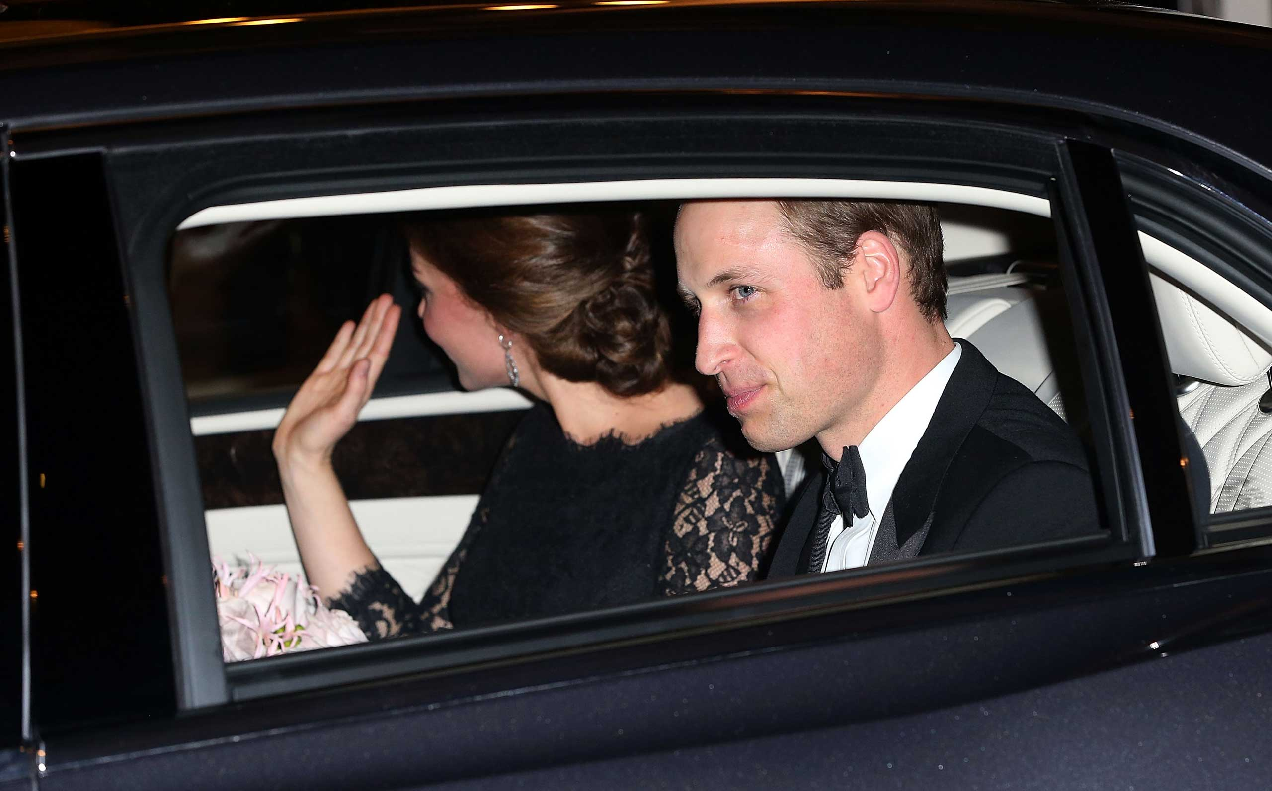 Catherine, Duchess of Cambridge and Prince William, Duke of Cambridge leave the The Royal Variety Performance at London Palladium on Nov.13, 2014 in London.