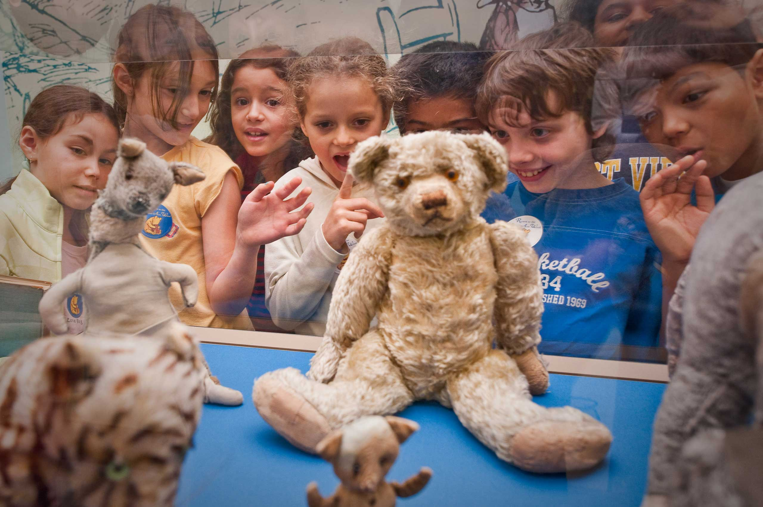 School children view the original Winnie the Pooh stuffed animals at the New York Public Library in 2009.
