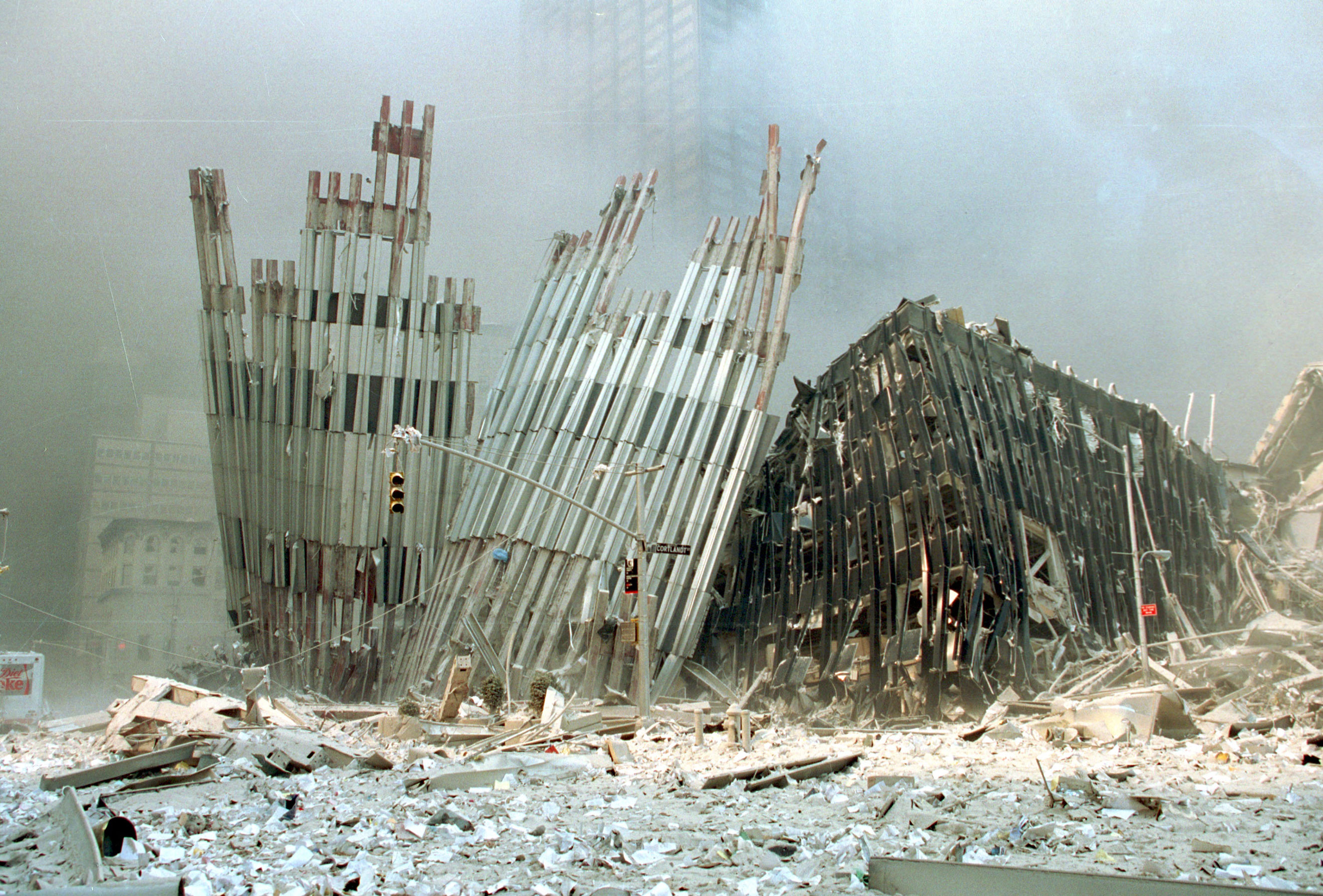 The top of the World Trade Center after the  collapse on Sept. 11, 2001.