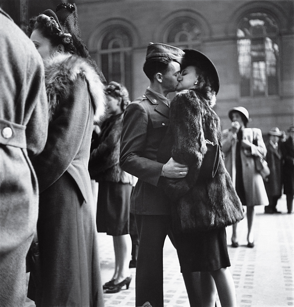 In this and dozens of other, similar pictures made at New York's Penn Station in 1944, LIFE's Alfred Eisenstaedt captured a private moment repeated in public millions of times over the course of the war: a guy, a girl, a goodbye - and no assurance that he'll make it back. By war's end, more than 400,000 American troops had been killed.