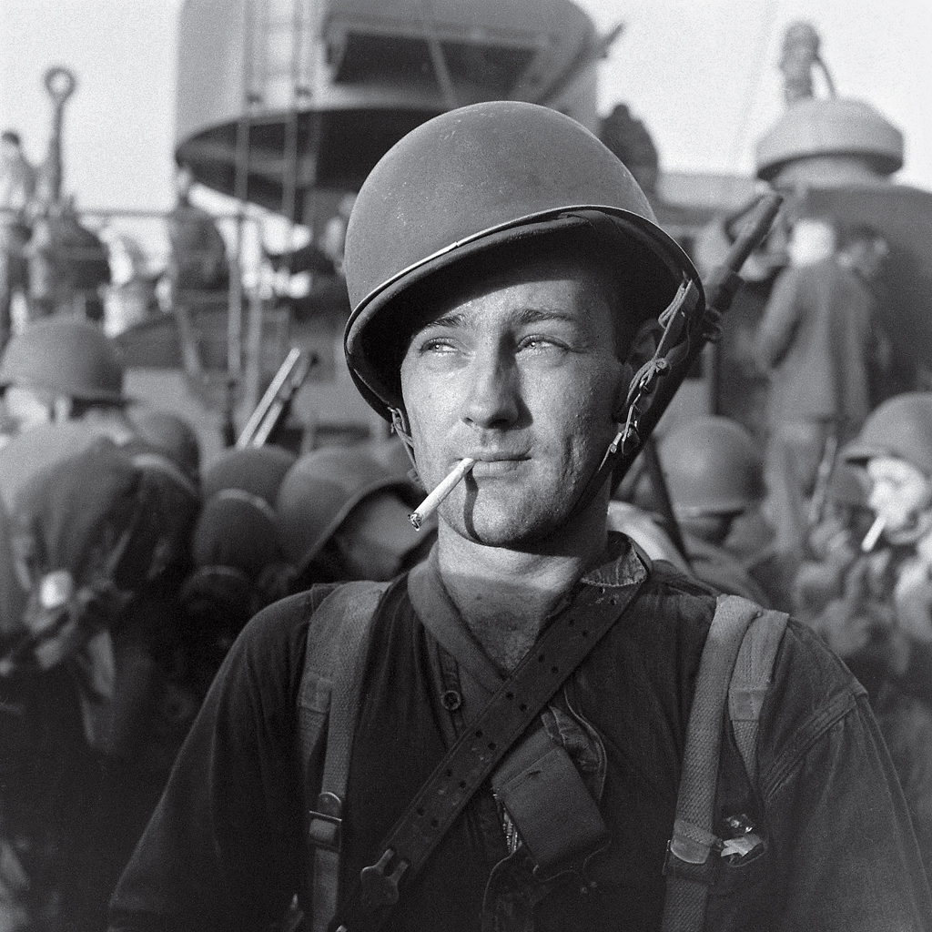 <b>Unpublished. </b>An American Marine readies to land on Guadalcanal during the five-month struggle for the island between late 1942 and early 1943. Three thousand miles south of Tokyo, Guadalcanal was a major shipping point for military supplies. The Allied victory there in February, 1943, marked a major turning point in the war after a string of Japanese victories in the Pacific.
