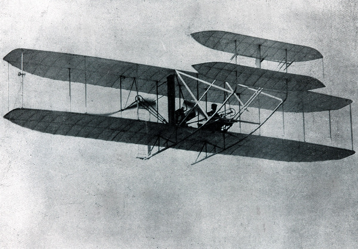 Wilbur and Orville Wright making the world's first hour-long flight at Fort Myer, Va., in 1907.
