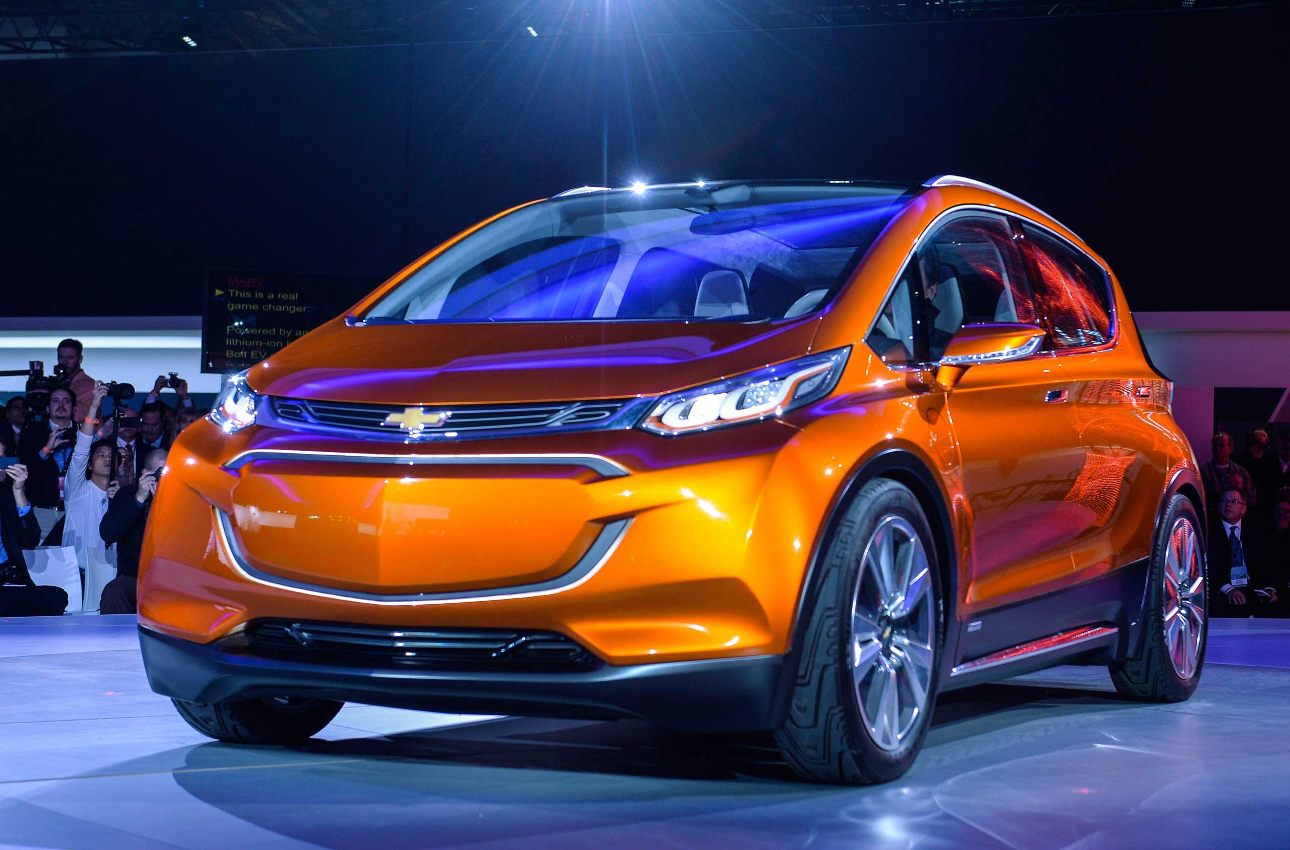 Chevrolet unveils a new concept car bolt during a press preview on Jan. 12, 2015 in Detroit.