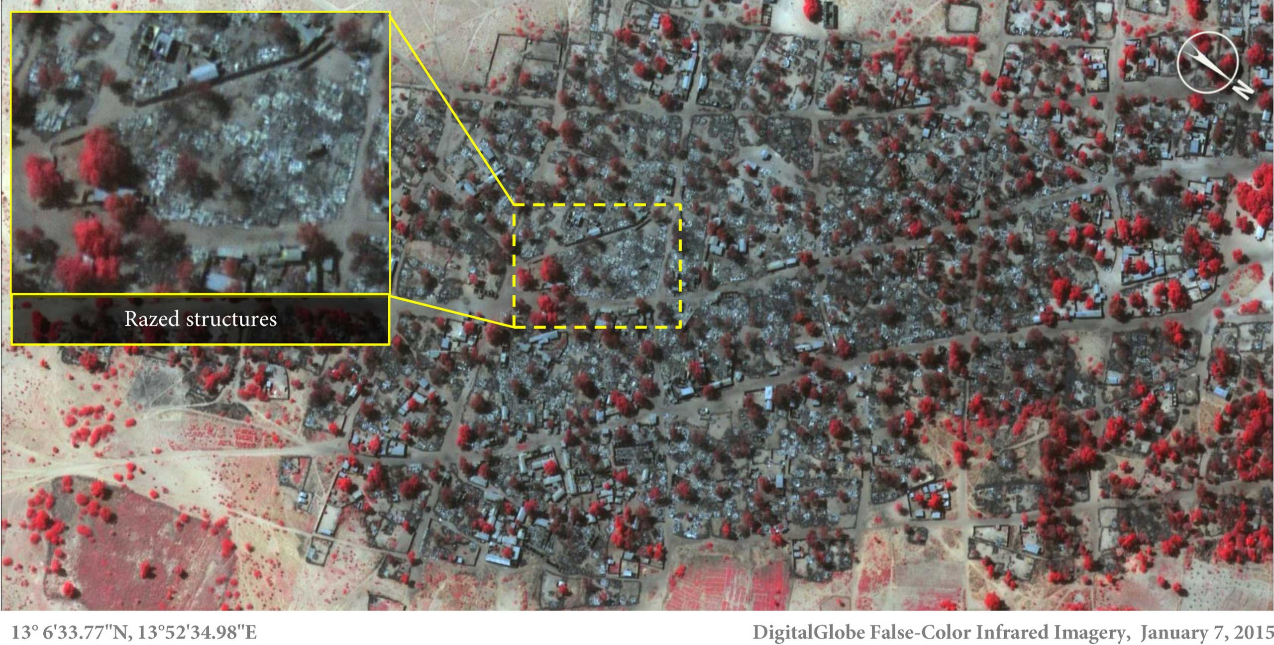 The village of Doro Baga is seen in northeastern Nigeria on Jan. 7, 2015, after the attack. (This shows almost all structures were razed. Areas in red show healthy vegetation.)