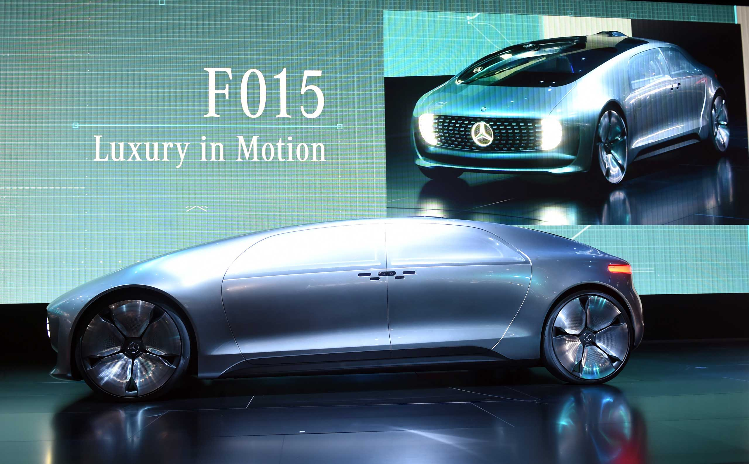 The Mercedes-Benz F 015 Coupe is presented during the media preview at the Cobo Arena on Jan. 12, 2015 in Detroit.