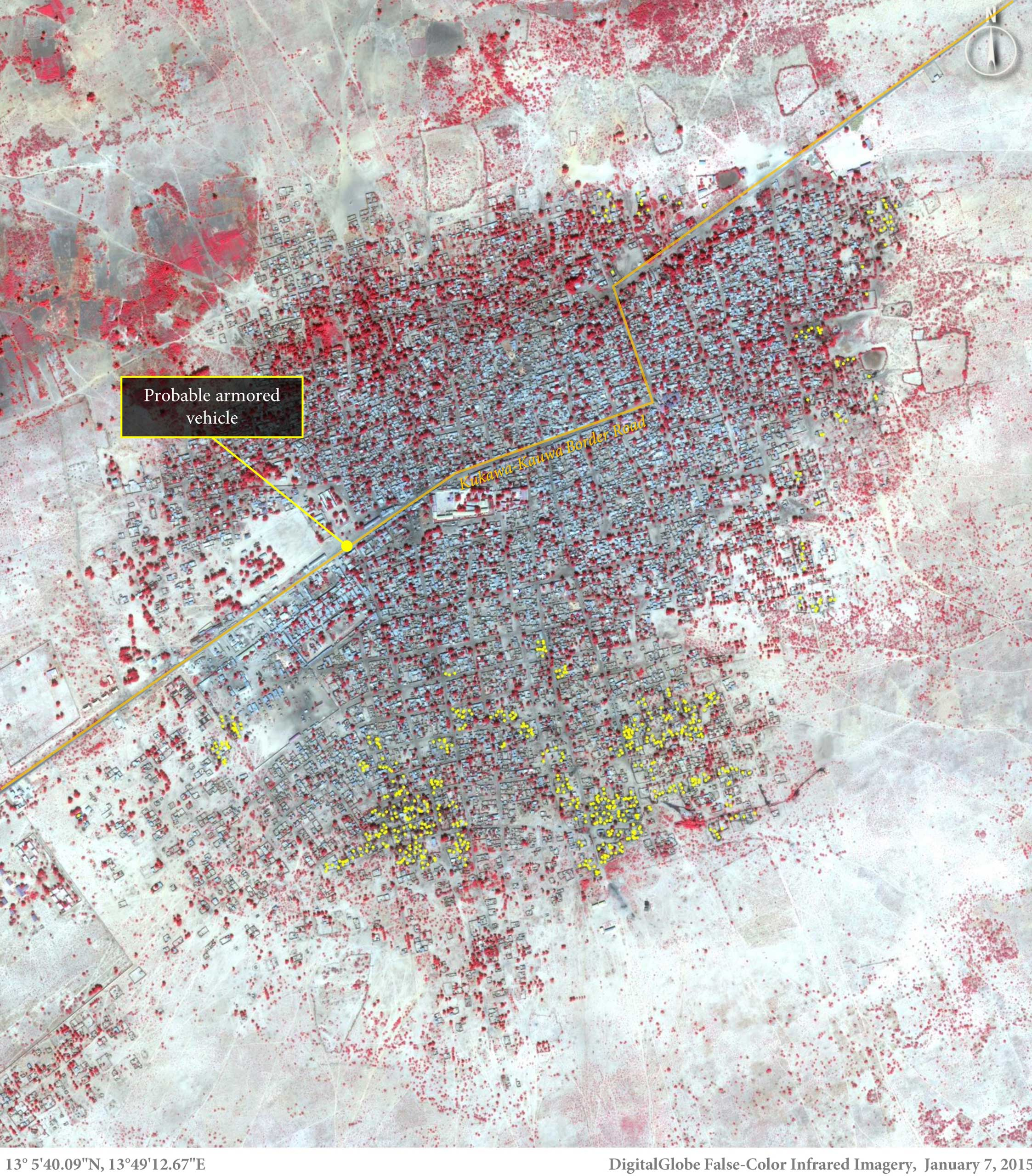 This overhead image shows more than 620 structures predominantly in the southern portion of Baga, northeastern Nigeria, on Jan. 7, 2015. (The yellow dots represent damaged or destroyed structures.