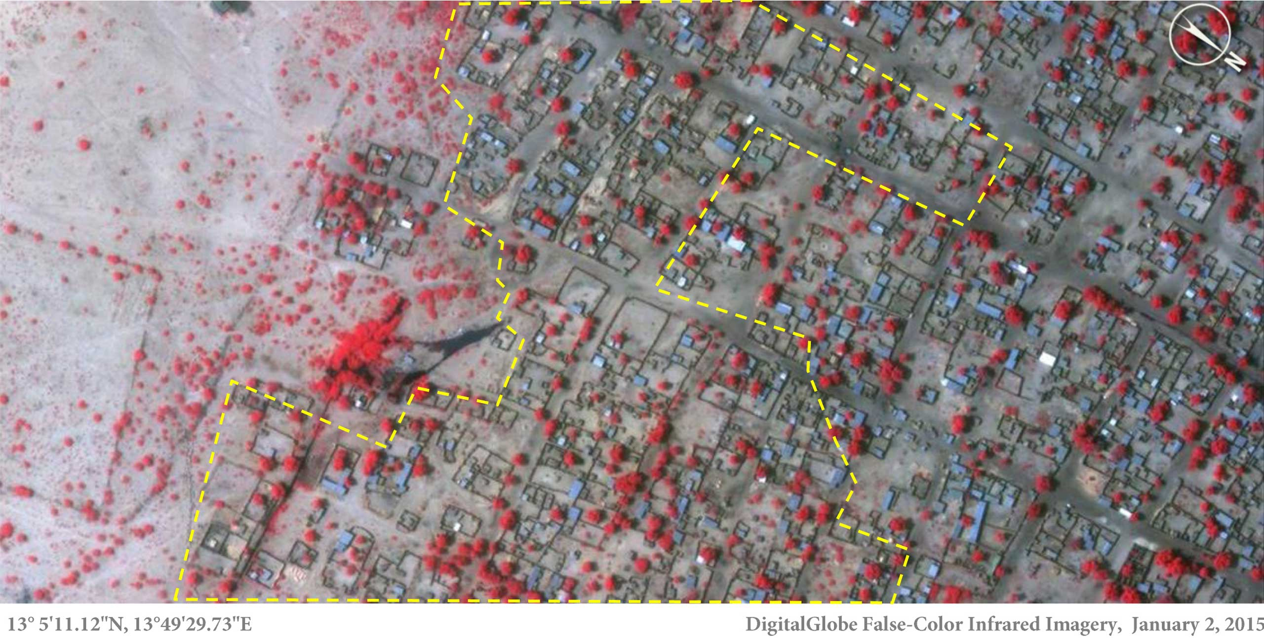 This image show many of the thatch roof structures are razed in Baga, northeastern Nigeria, on Jan. 7, 2015. (The dark color represents the burned areas while red indicates healthy vegetation.)