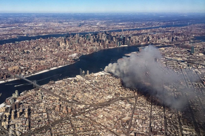 Warehouse fire in Brooklyn, New York