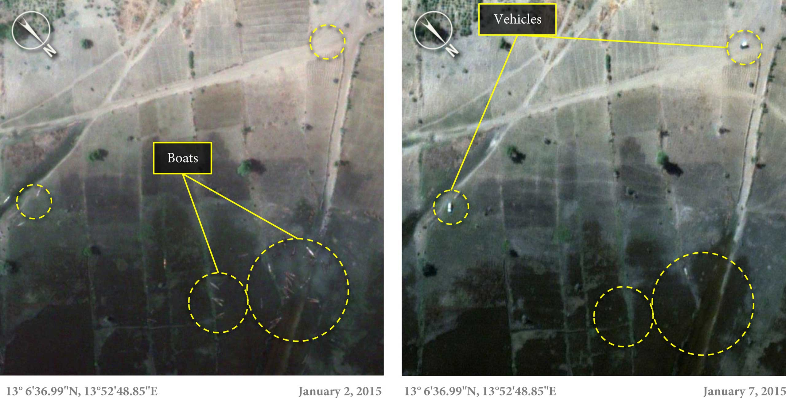 Two satellite images taken on Jan. 2 and Jan. 7, 2015, which show the shore of Lake Chad at Doro Baga, northeastern Nigeria. (The boats visible in the Jan. 2 image are no longer present on Jan. 7.)