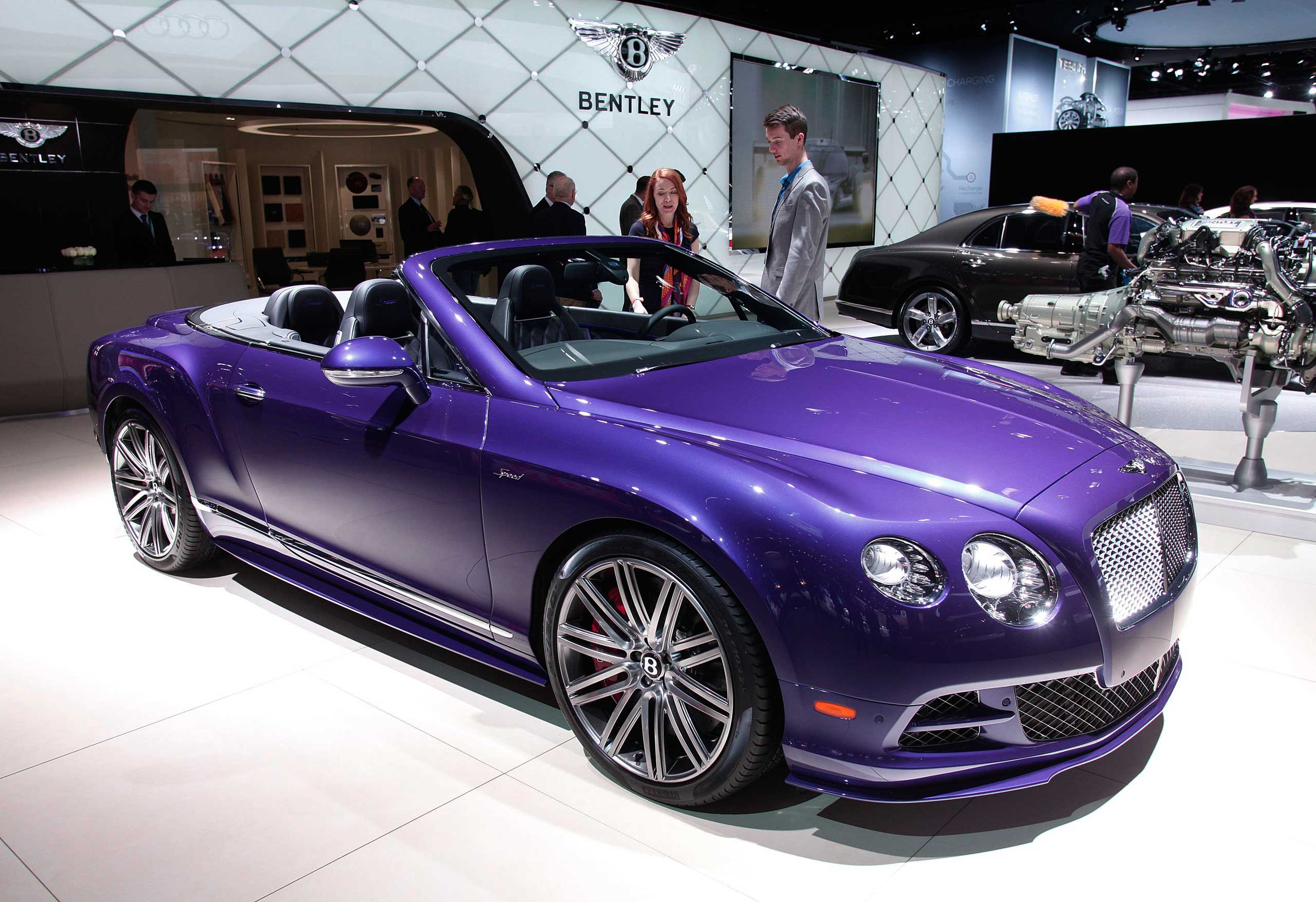 The Bentley GT Speed Convertible is displayed at the Mercedes exhibit on Jan. 13, 2015 in Detroit.