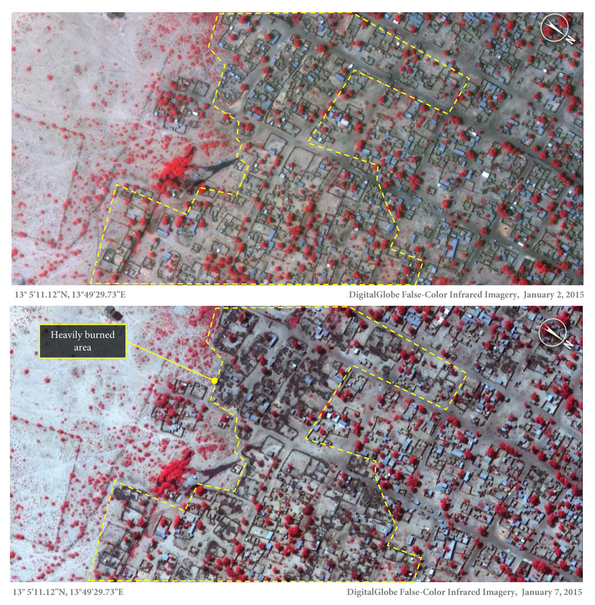 Above is a Jan. 2, 2015, image of Baga, northeastern Nigeria, when many thatch roof structures are visible. (These had been rebuilt since the attack on Baga in April 2013.) Below, in the Jan. 7 image, shows many of them were razed. (The dark color represents burned areas, while the red indicates heathy vegetation.)